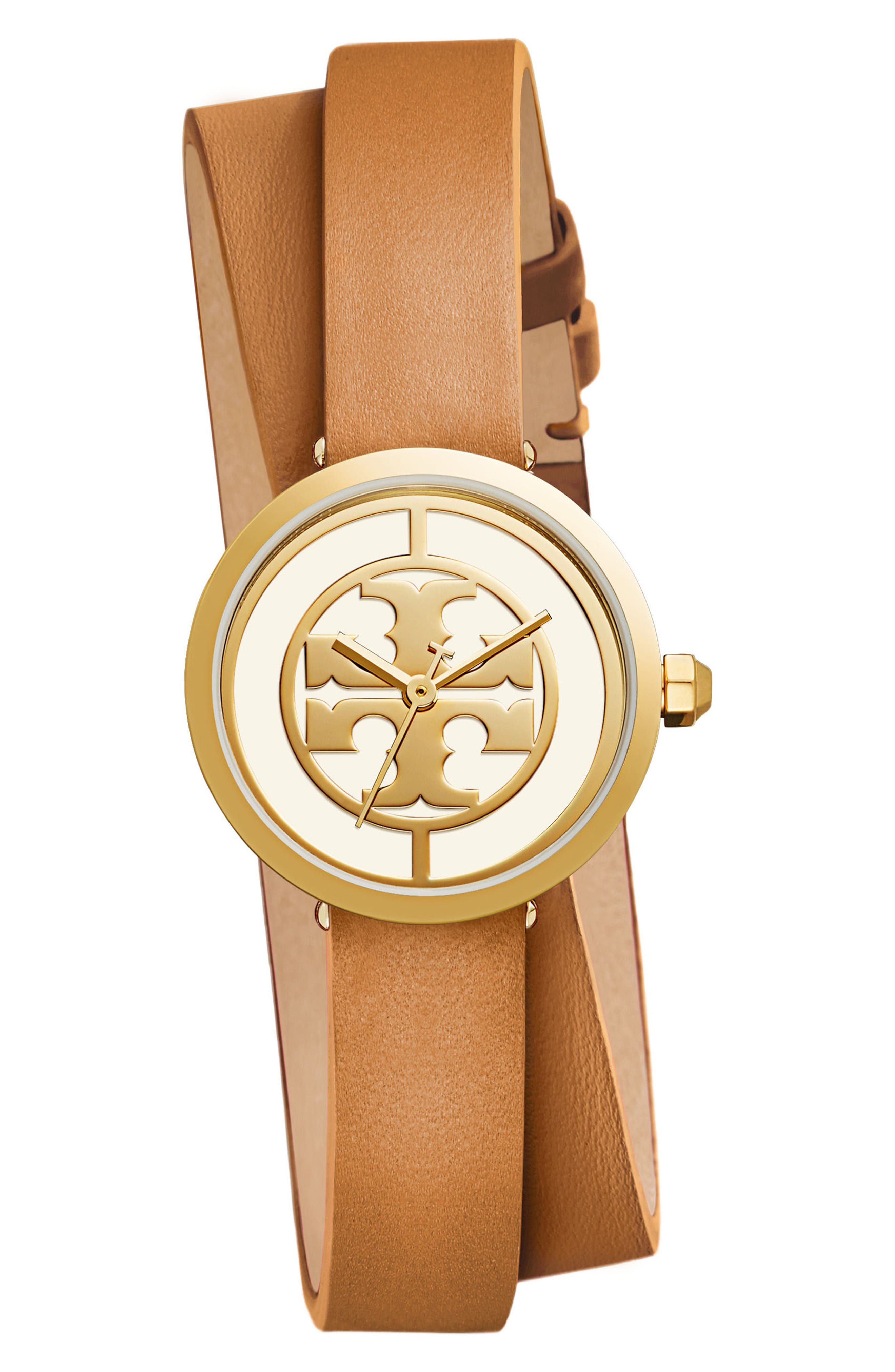 TORY BURCH Reva Logo Dial Double Wrap Leather Strap Watch, 28mm, Main, color, LUGGAGE/ IVORY/ GOLD