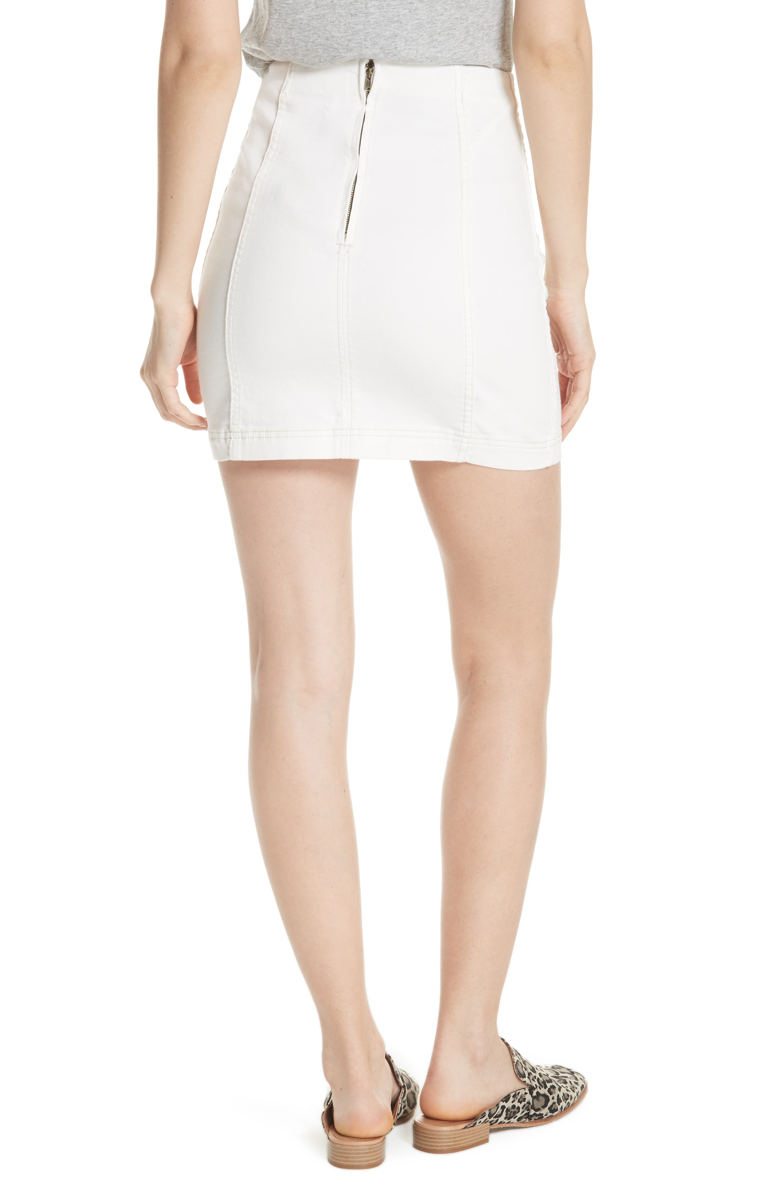 FREE PEOPLE, We the Free by Free People Modern Denim Skirt, Alternate thumbnail 2, color, 100