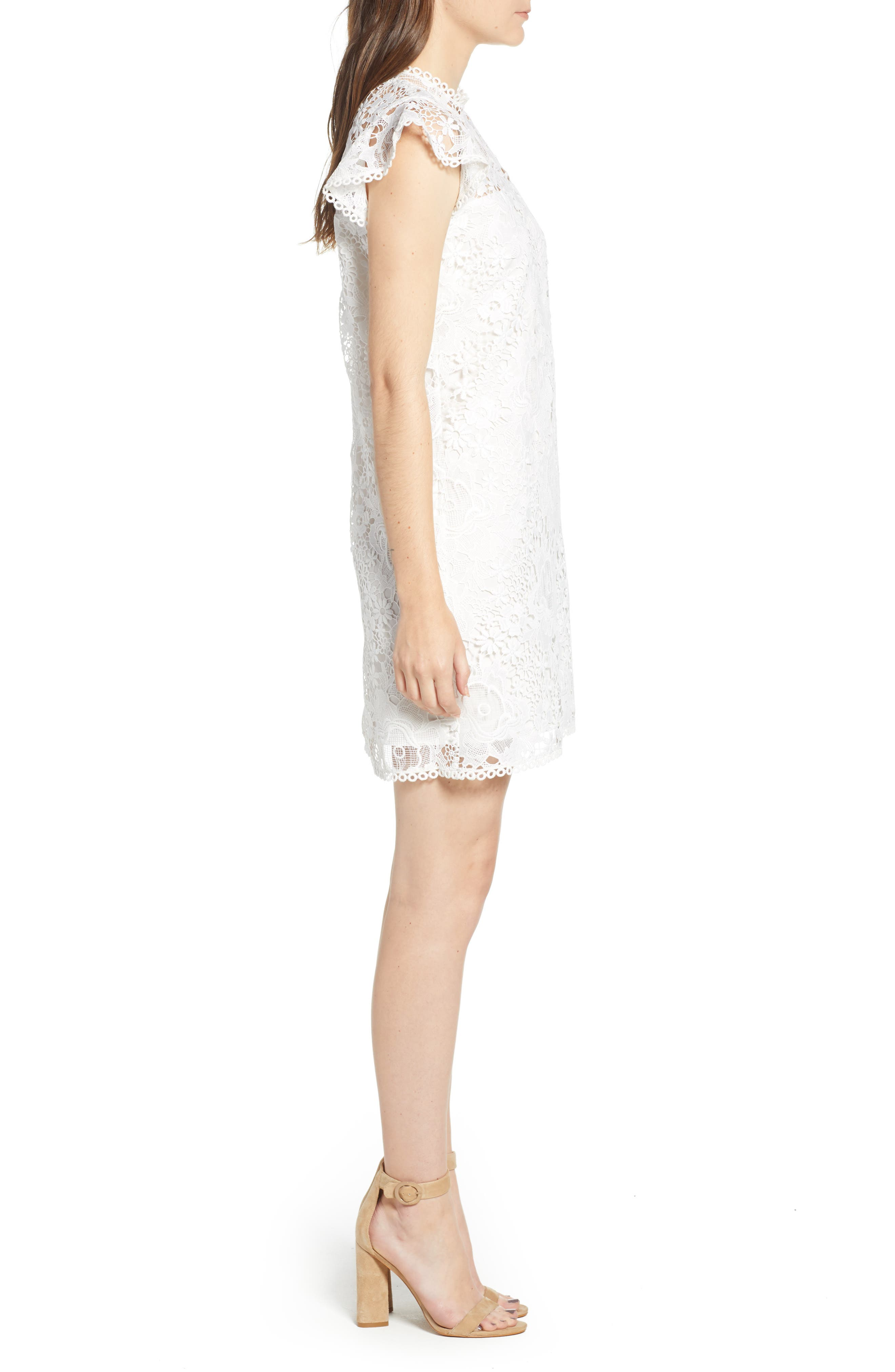 CUPCAKES AND CASHMERE, Floral Lace Shift Dress, Alternate thumbnail 4, color, WHITE