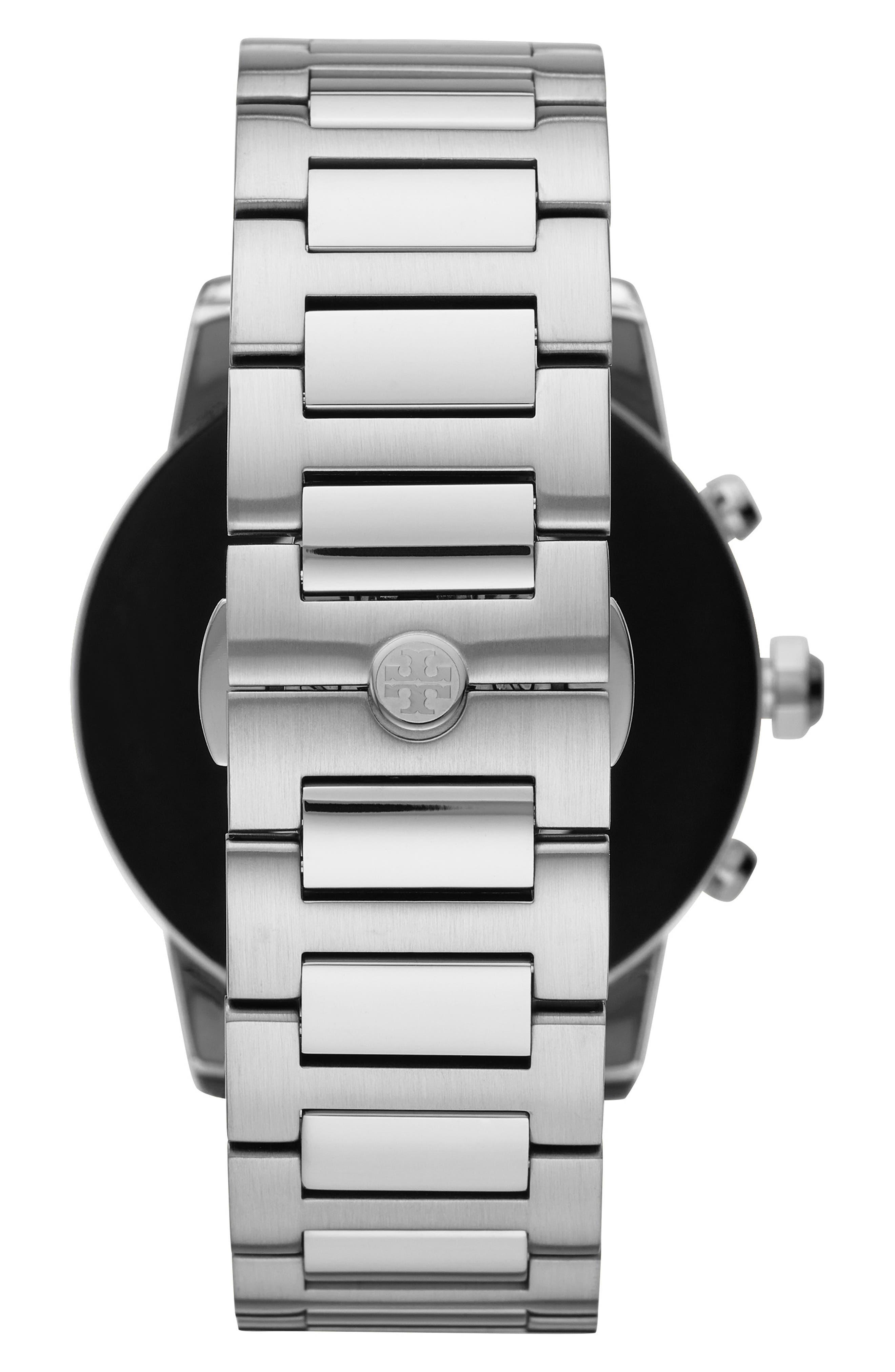 TORY BURCH, ToryTrack Gigi Touchscreen Smart Watch, 40mm, Alternate thumbnail 2, color, SILVER