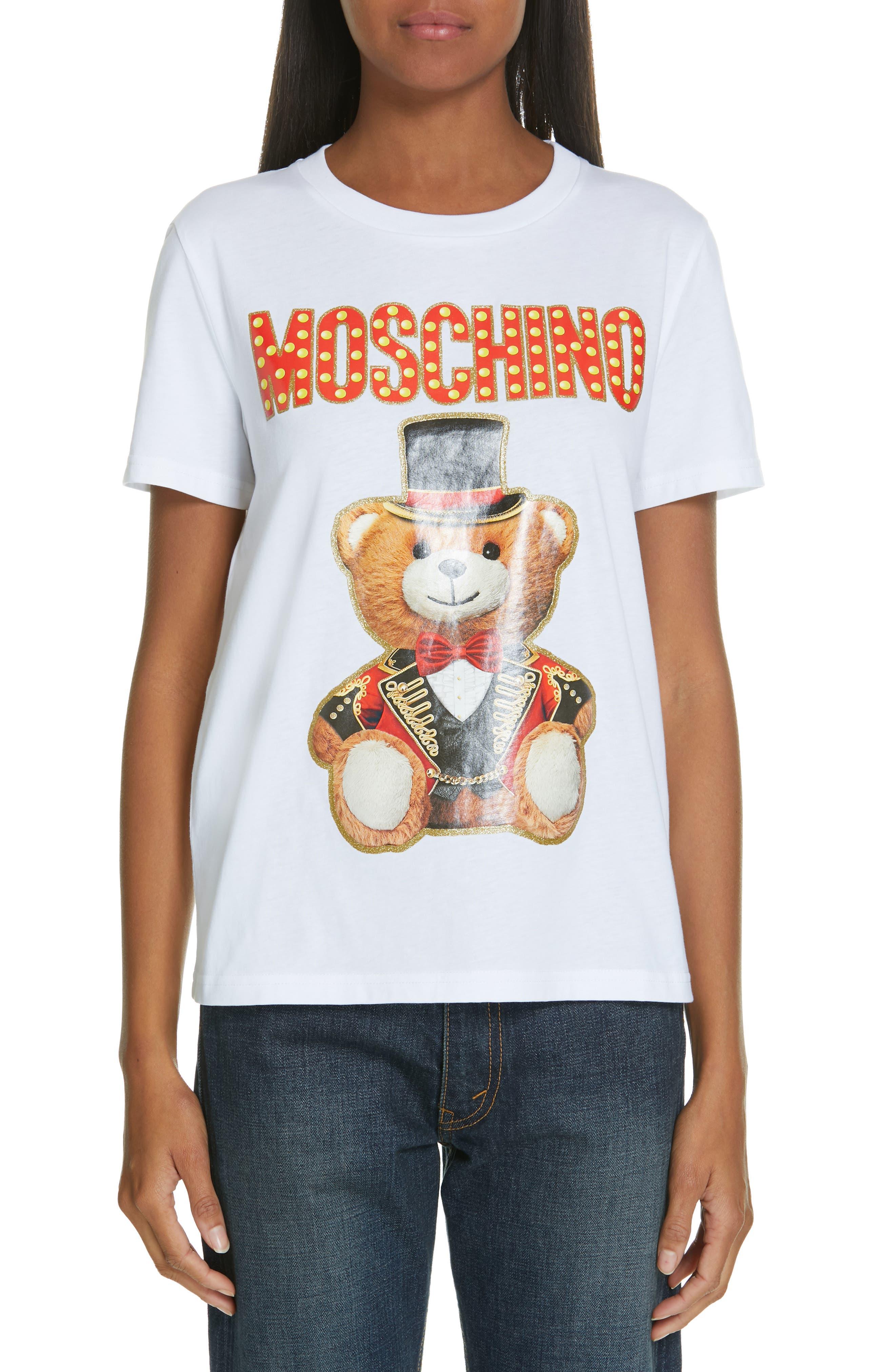 MOSCHINO Circus Teddy Tee, Main, color, WHITE