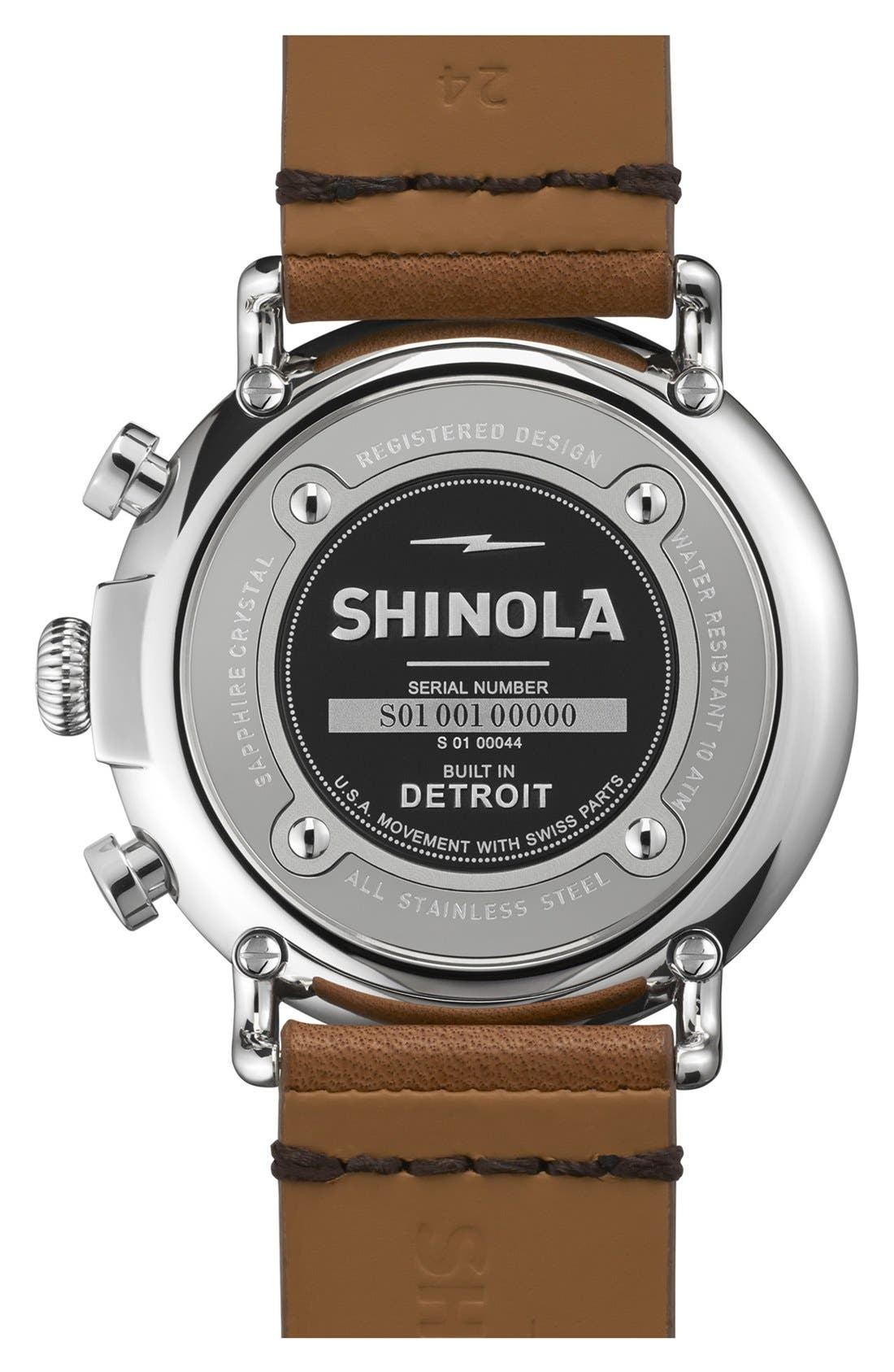 SHINOLA, The Runwell Chrono Leather Strap Watch, 47mm, Alternate thumbnail 2, color, BROWN/ BLACK