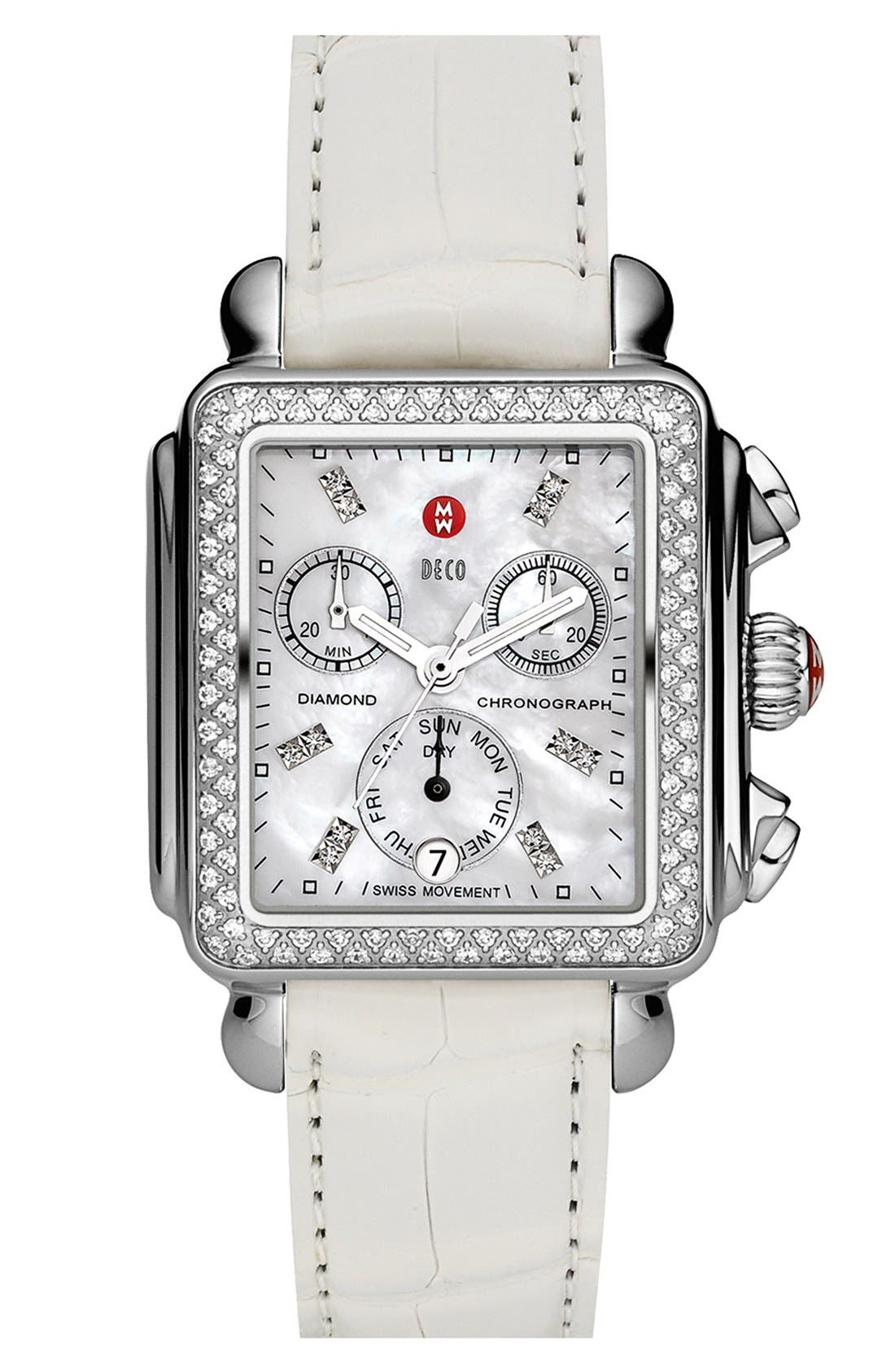 MICHELE, Deco Diamond Diamond Dial Watch Head, 33mm x 35mm, Alternate thumbnail 5, color, SILVER