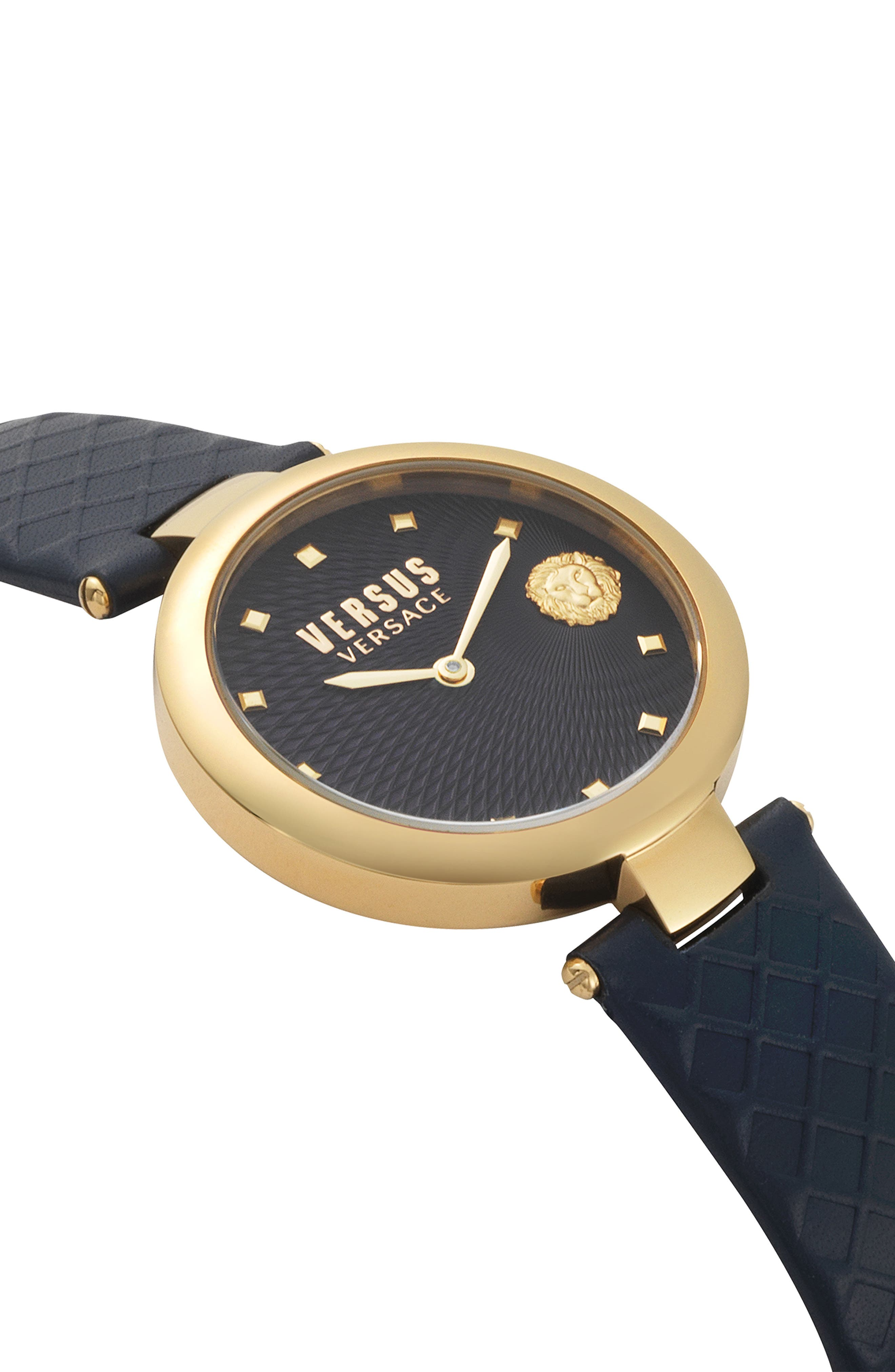 VERSUS VERSACE, Buffle Bay Leather Strap Watch, 36mm, Alternate thumbnail 3, color, BLUE/ GOLD