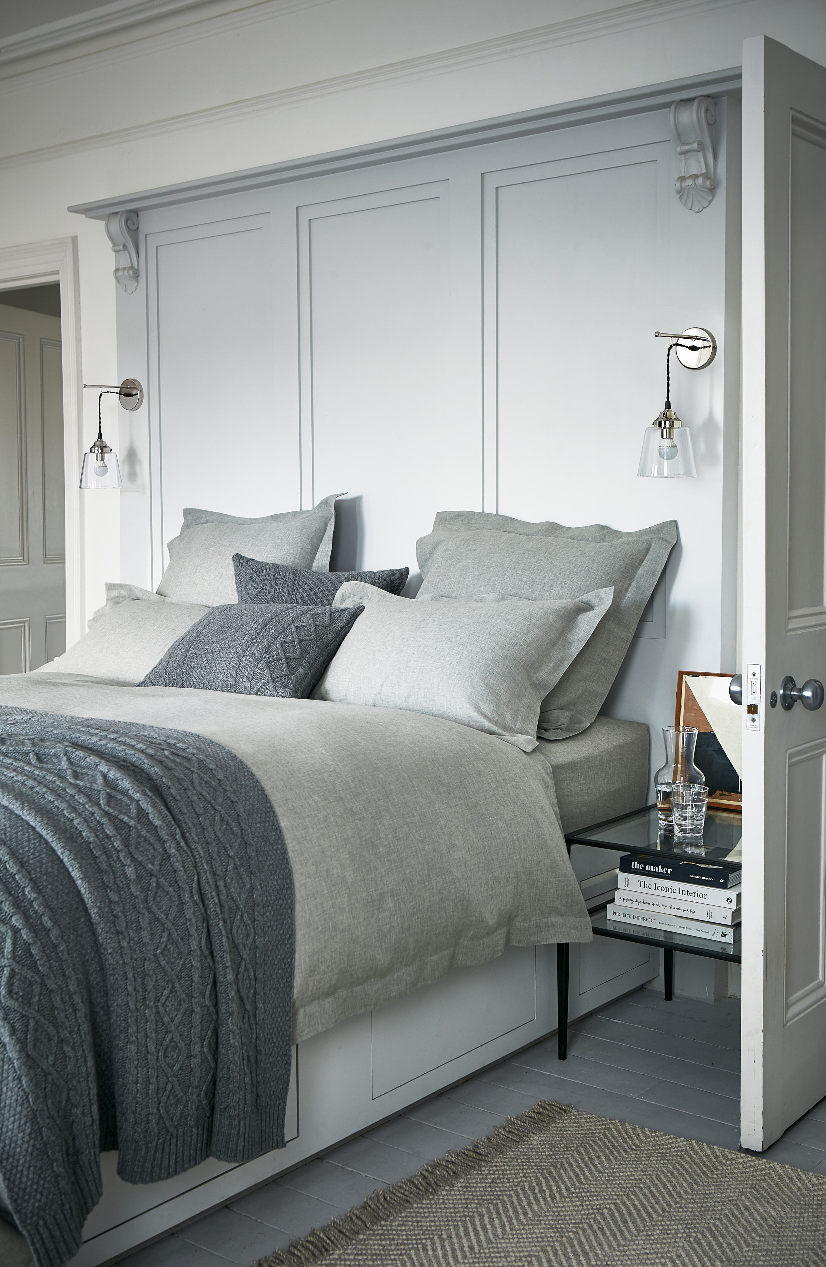 THE WHITE COMPANY, Evesham Duvet Cover, Alternate thumbnail 2, color, CHARCOAL GREY
