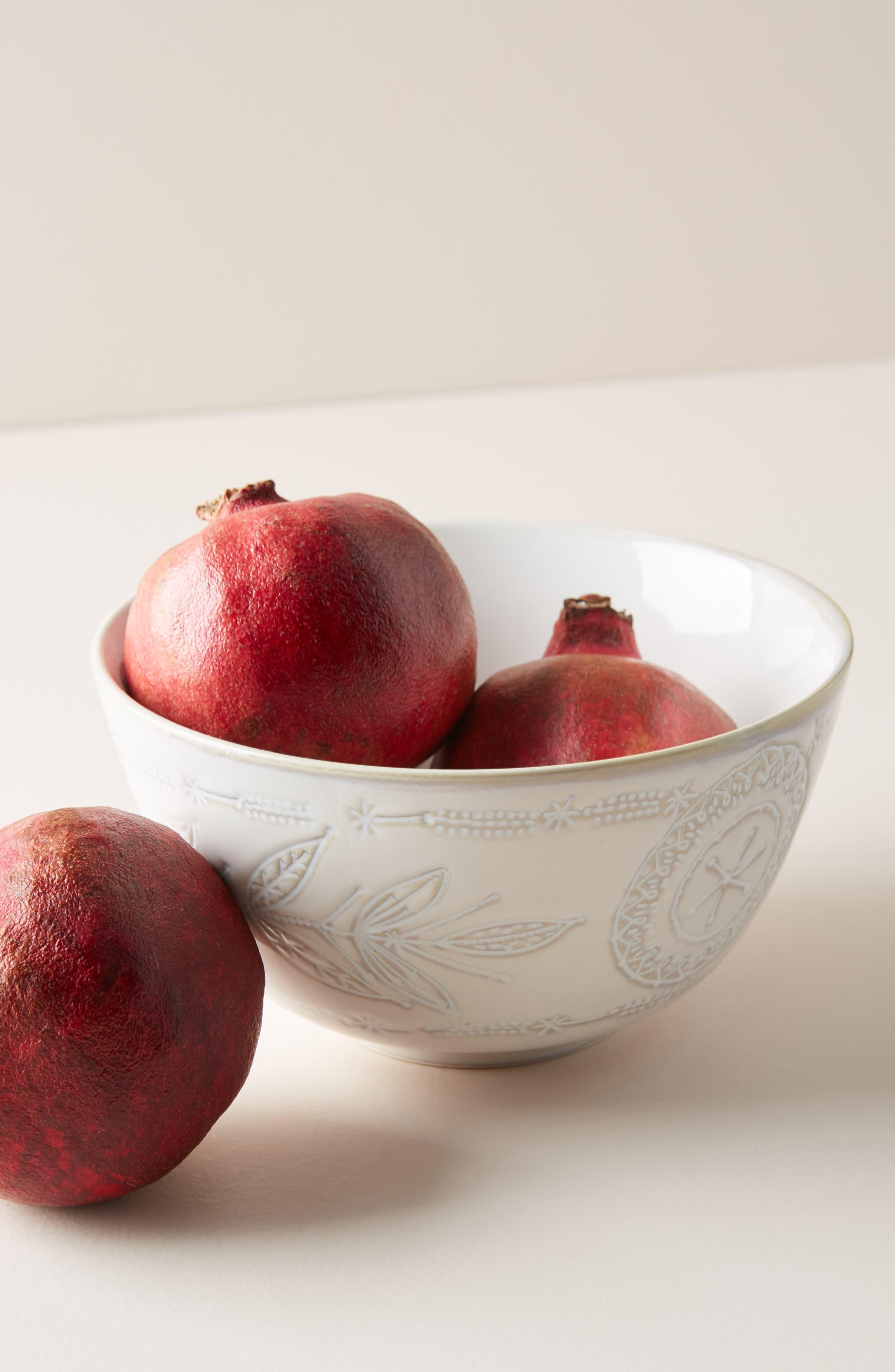 ANTHROPOLOGIE, Uret Stoneware Bowl, Alternate thumbnail 4, color, WHITE