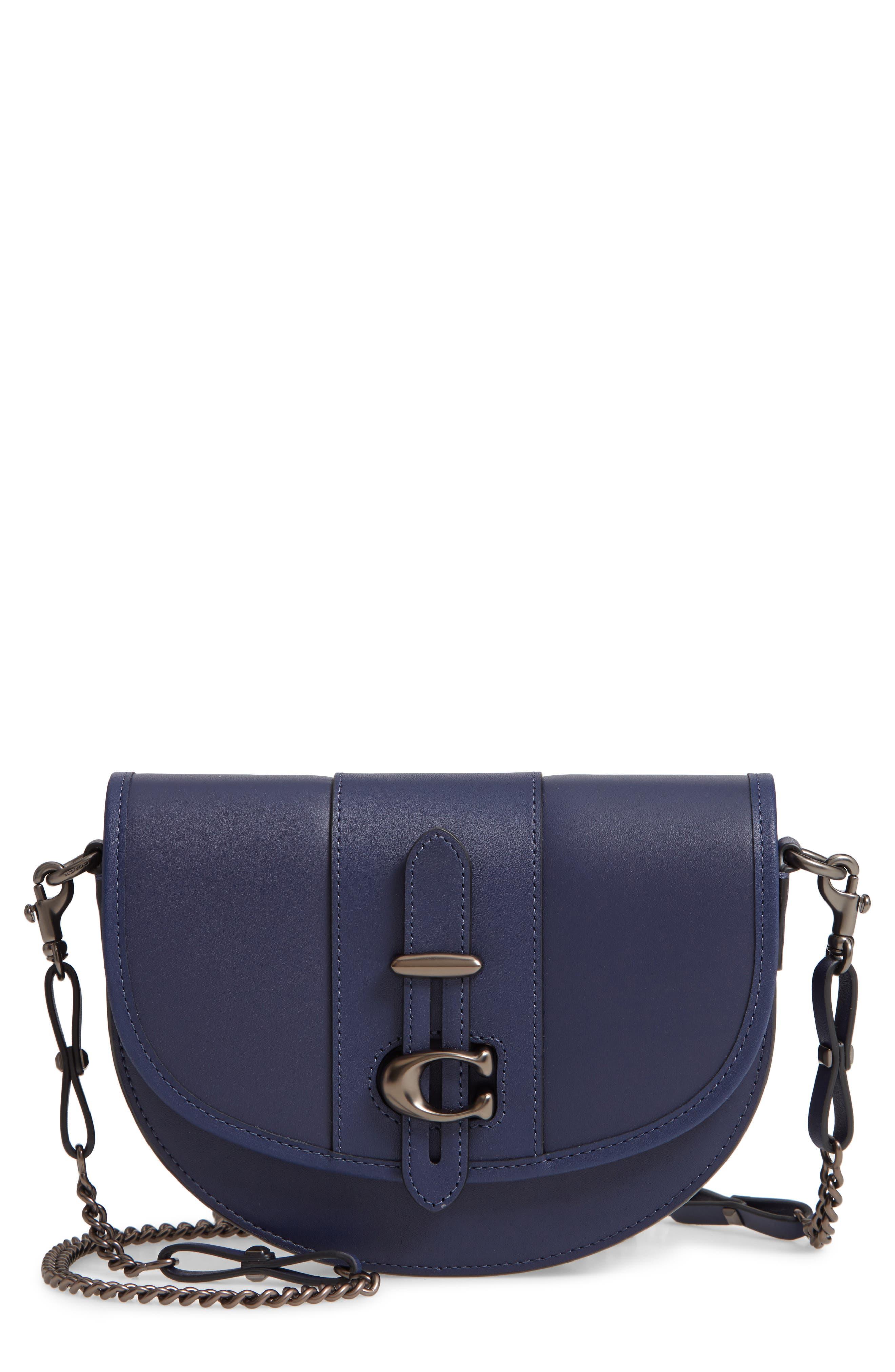 COACH Saddle 20 Leather Saddle Bag, Main, color, CADET