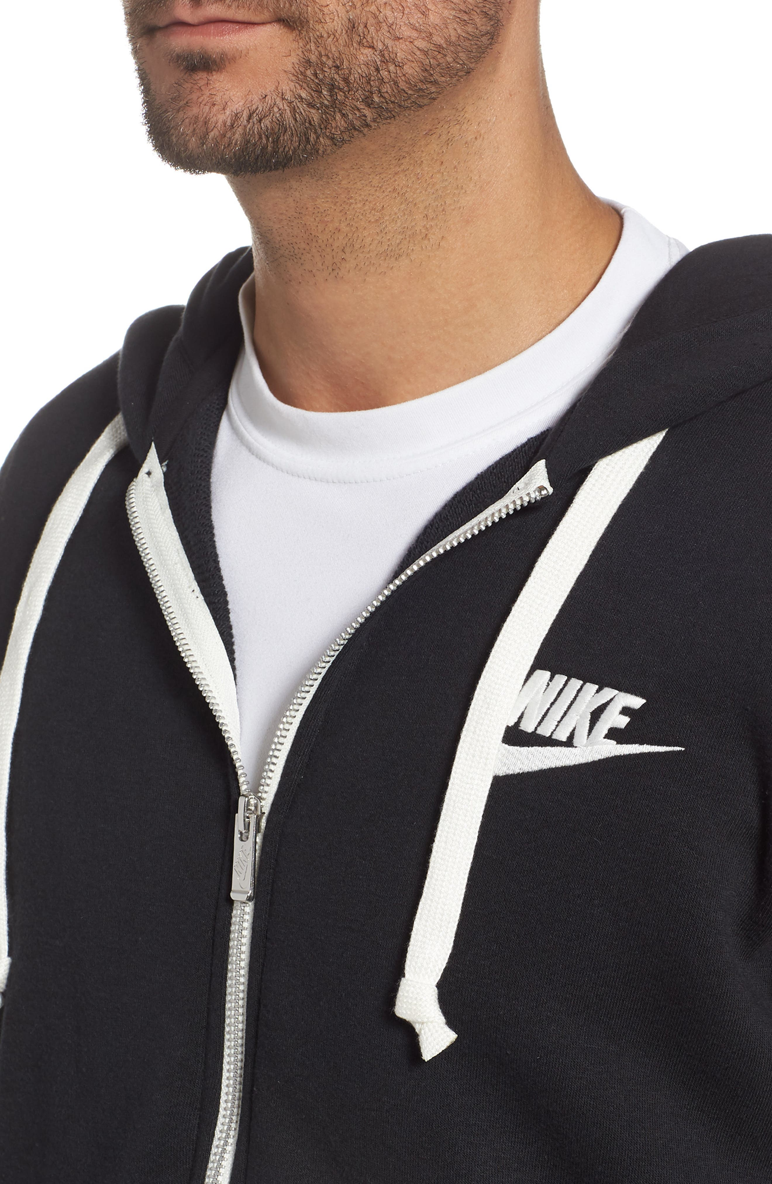 NIKE, Sportswear Heritage Zip Hoodie, Alternate thumbnail 4, color, BLACK/ SAIL