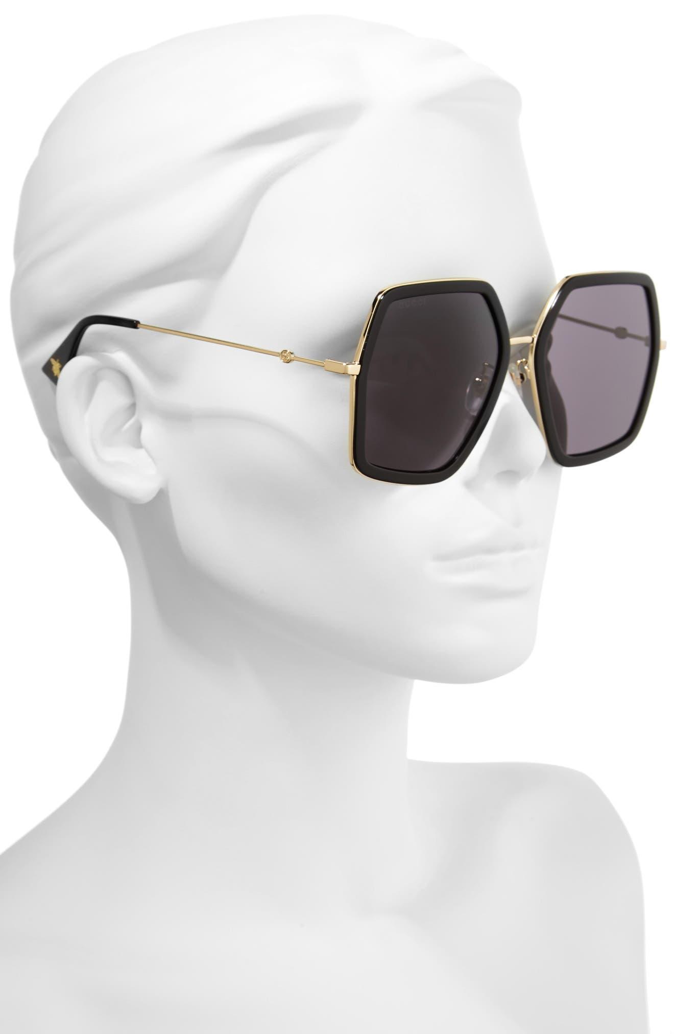 GUCCI, 56mm Sunglasses, Alternate thumbnail 2, color, BLACK/ GREY