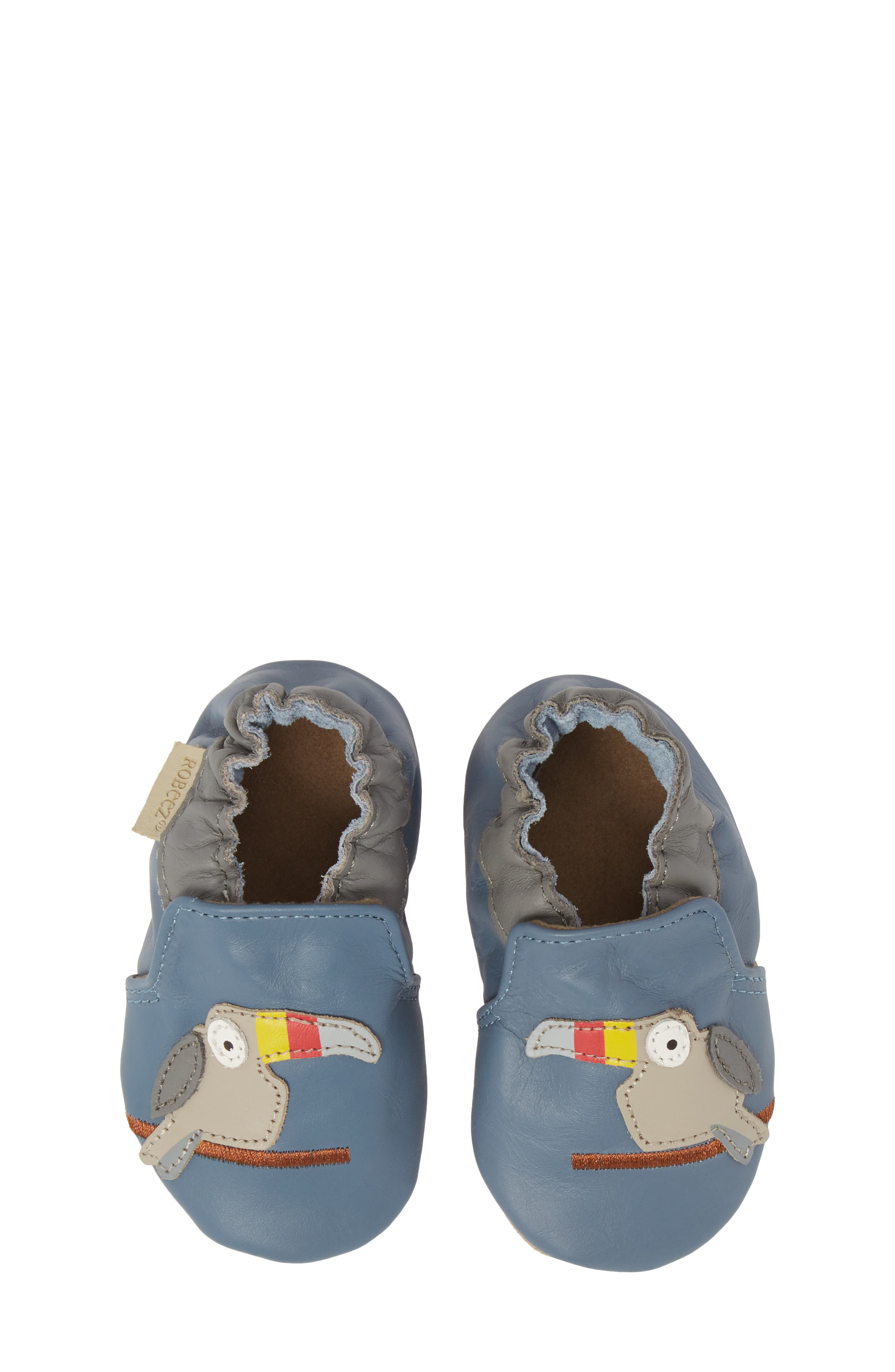 ROBEEZ<SUP>®</SUP>, Toucan Tom Moccasin Crib Shoe, Alternate thumbnail 5, color, 450