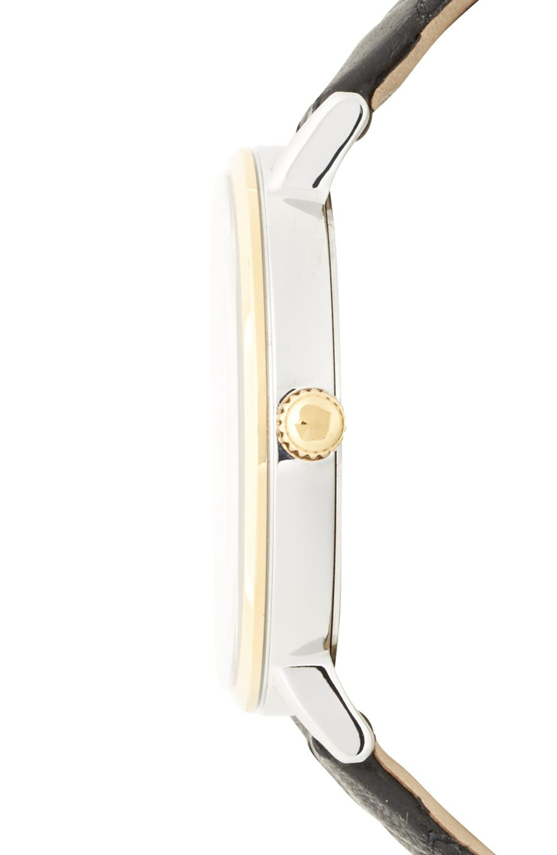 KATE SPADE NEW YORK, 'metro grand' quilted strap watch, 38mm, Alternate thumbnail 5, color, 001