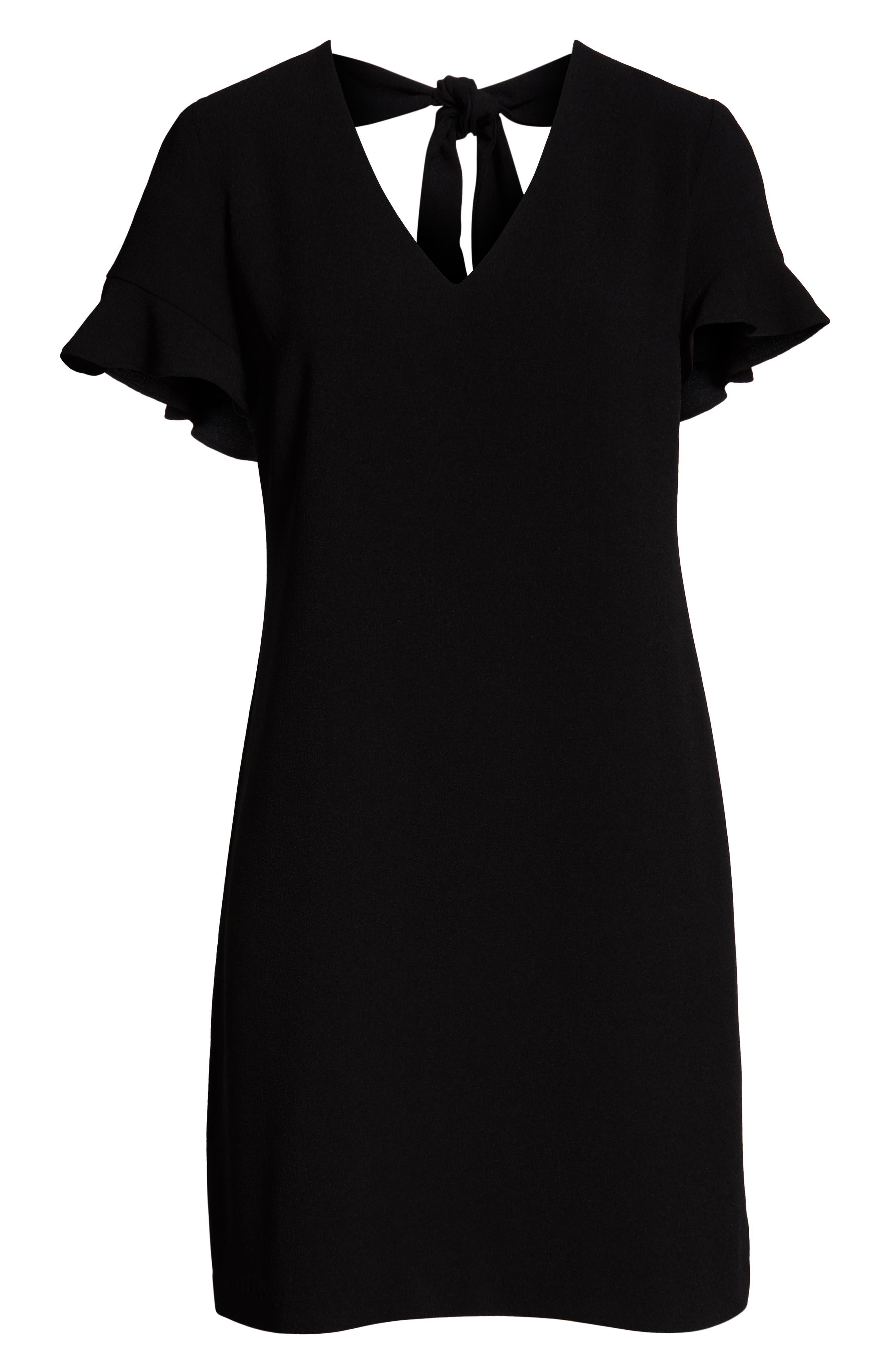 CHARLES HENRY, Tie Back Shift Dress, Alternate thumbnail 7, color, BLACK