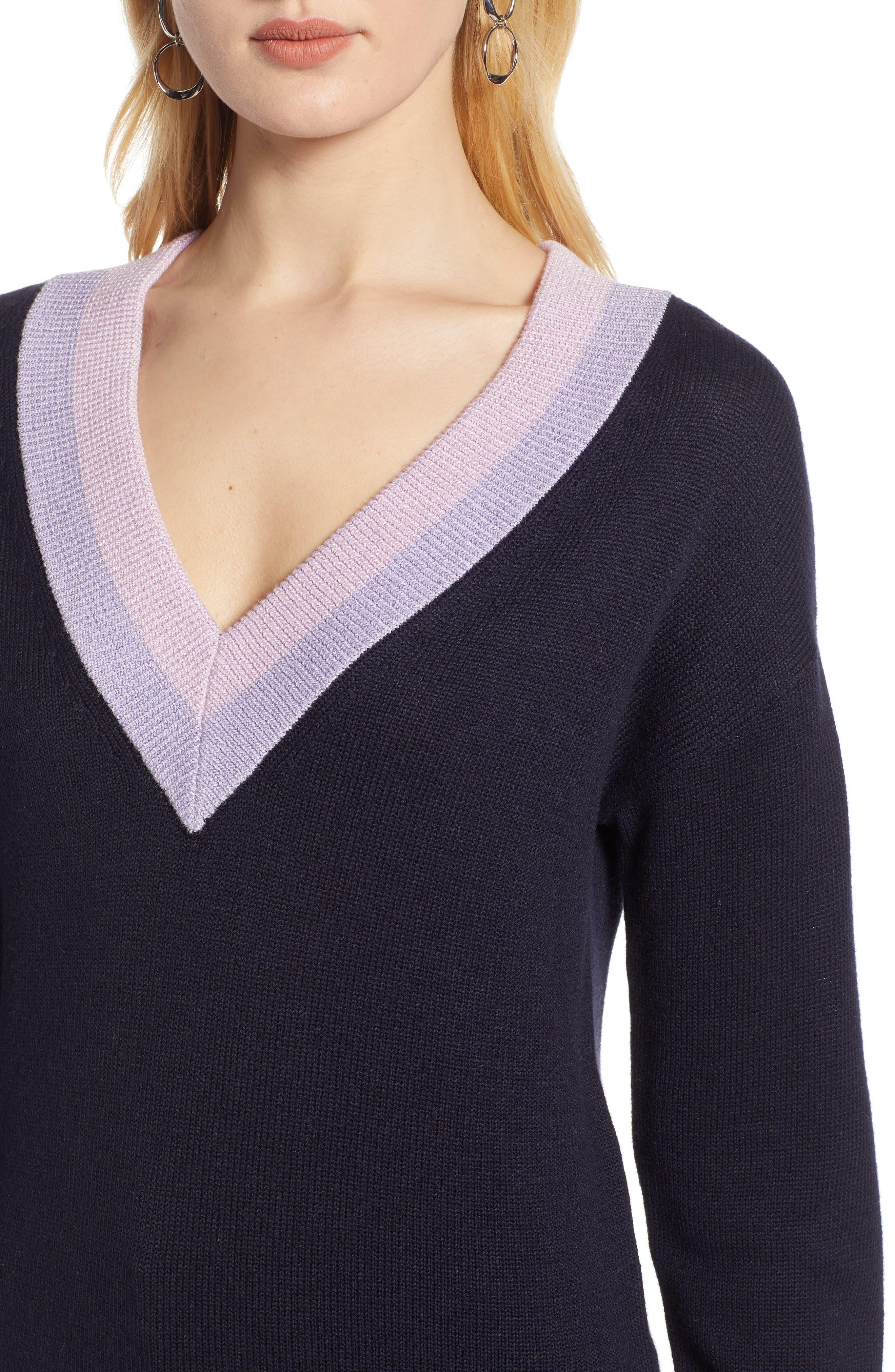 HALOGEN<SUP>®</SUP>, Shimmer V-Neck Sweater, Alternate thumbnail 4, color, NAVY NIGHT