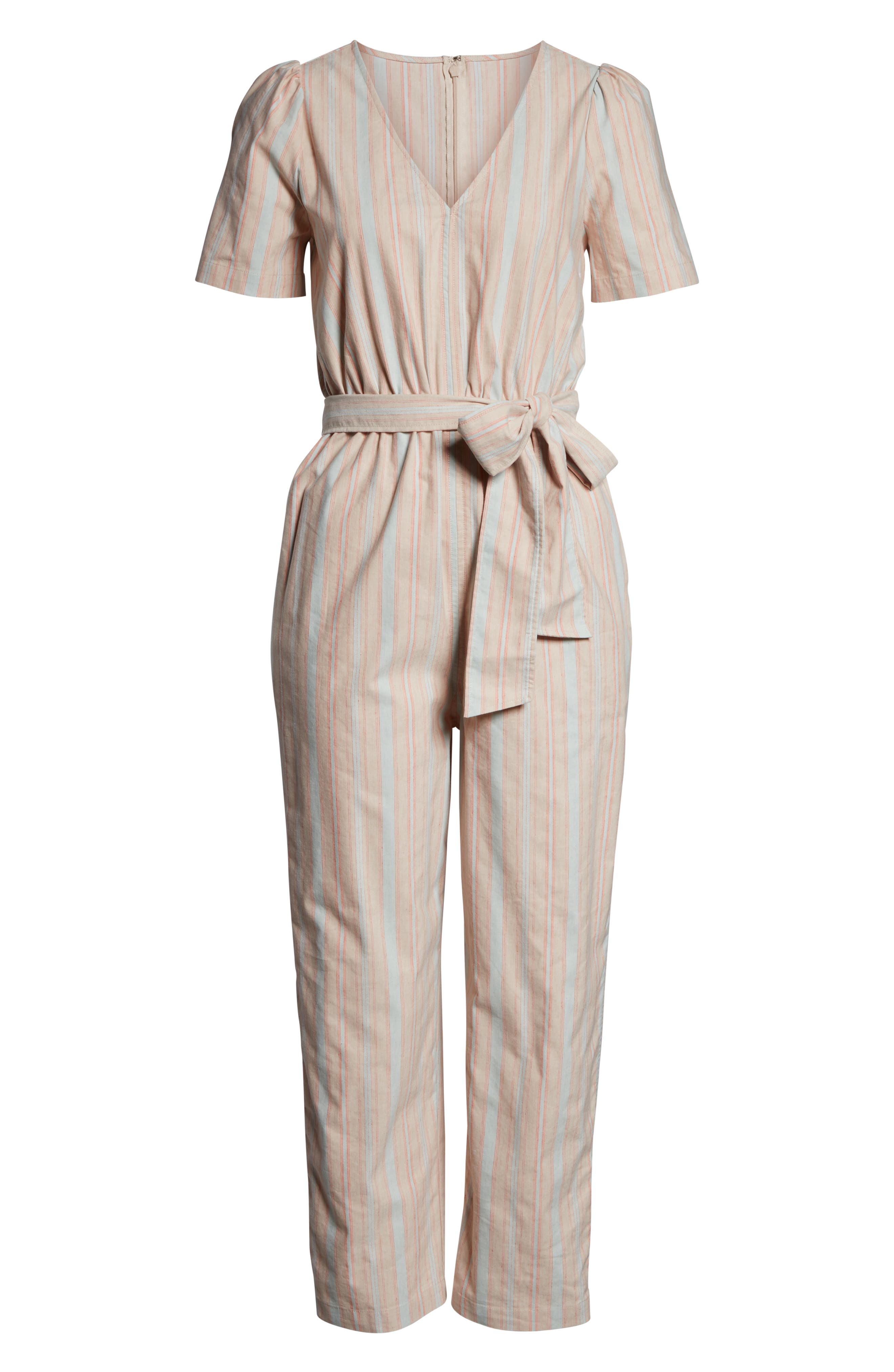 MADEWELL, Puff Sleeve Tapered Jumpsuit, Alternate thumbnail 6, color, 400