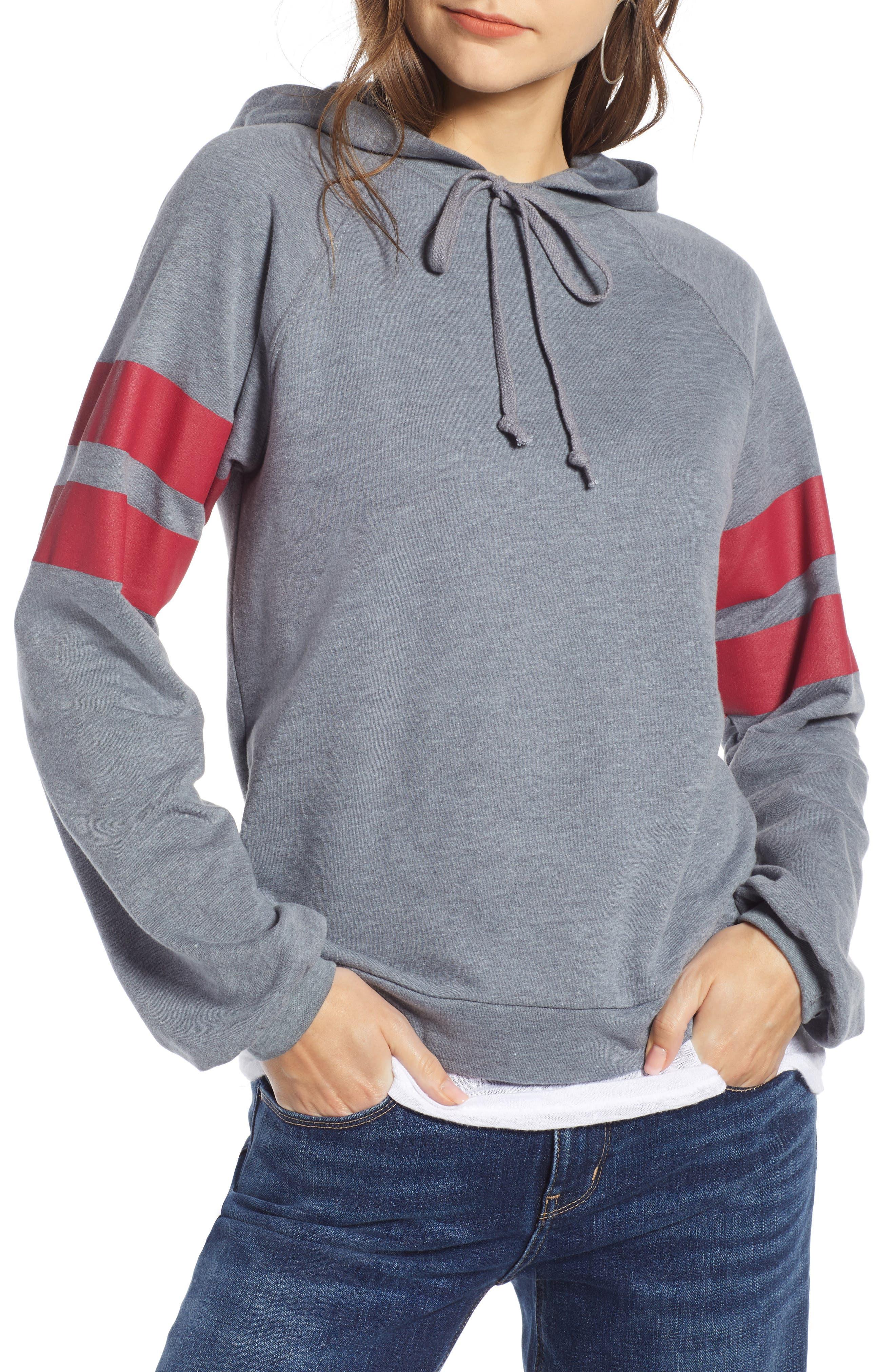 TREASURE & BOND Varsity Stripe Hoodie, Main, color, GREY TURBULENCE