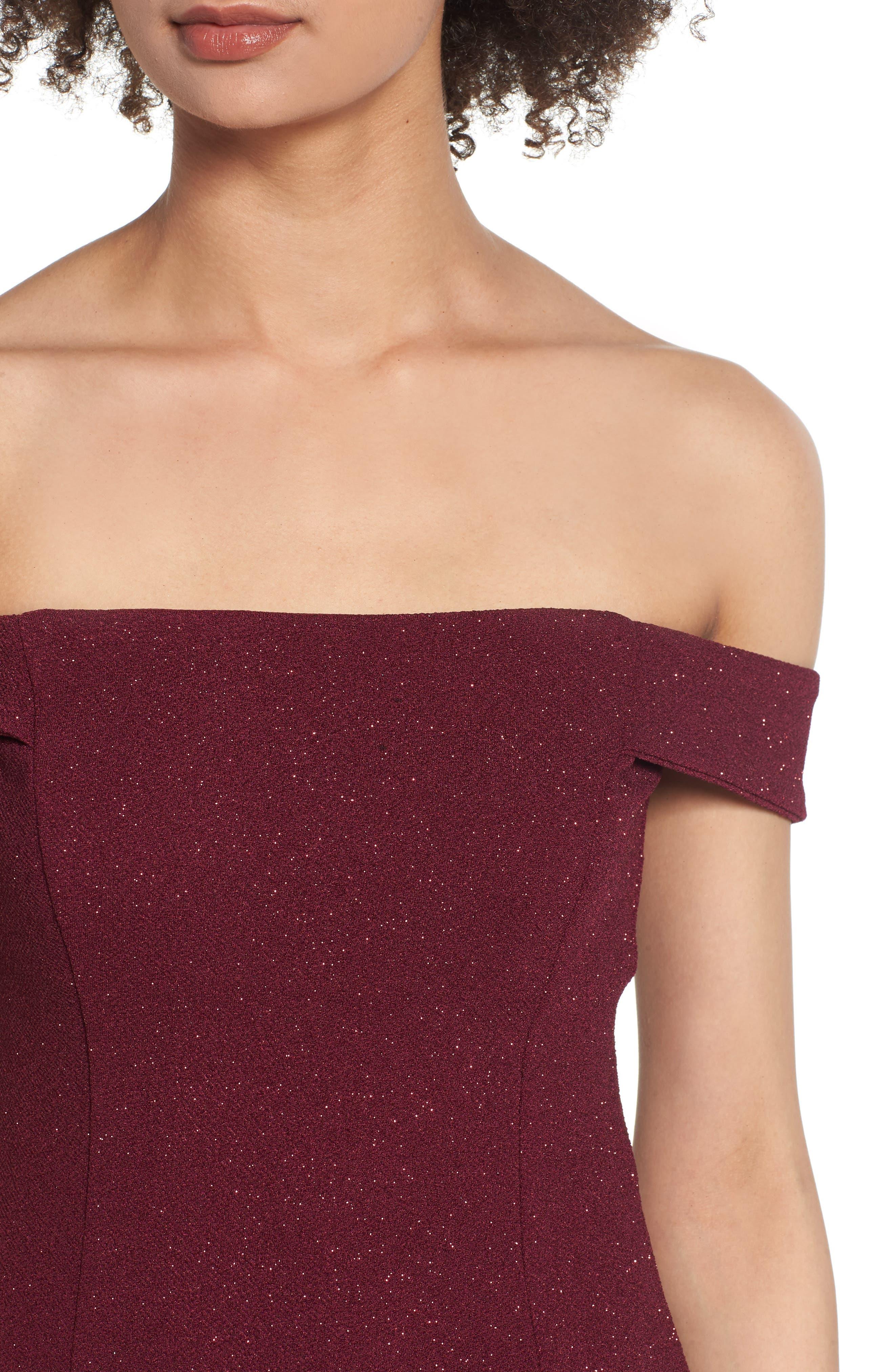 SPEECHLESS, Glitter Off the Shoulder Dress, Alternate thumbnail 5, color, BURGUNDY