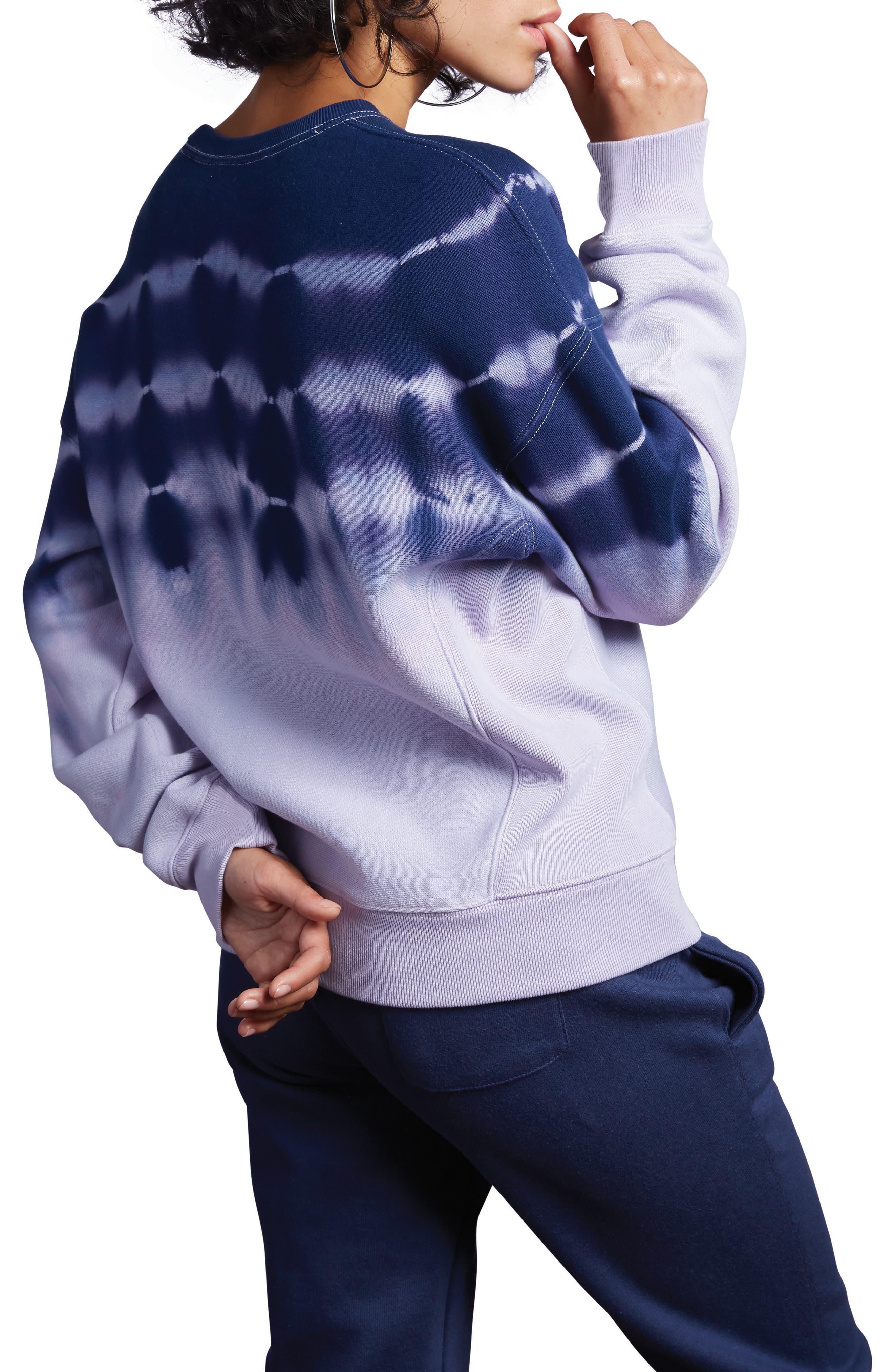 CHAMPION, Streak Dye Sweatshirt, Alternate thumbnail 2, color, PALE VIOLET ROSE