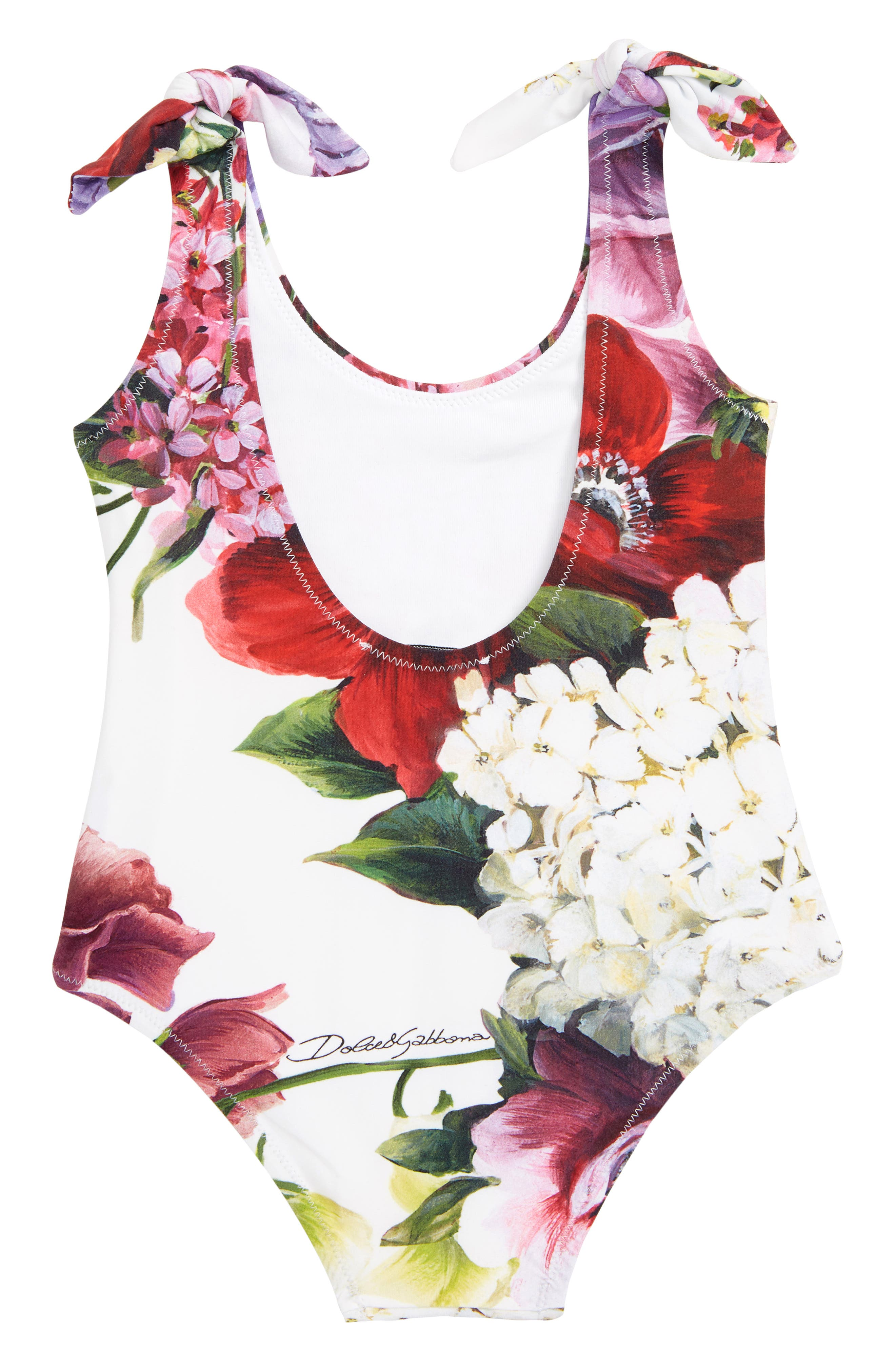 DOLCE&GABBANA, Intero One-Piece Swimsuit, Alternate thumbnail 2, color, ORTENSIE/ FIORI F.NAT