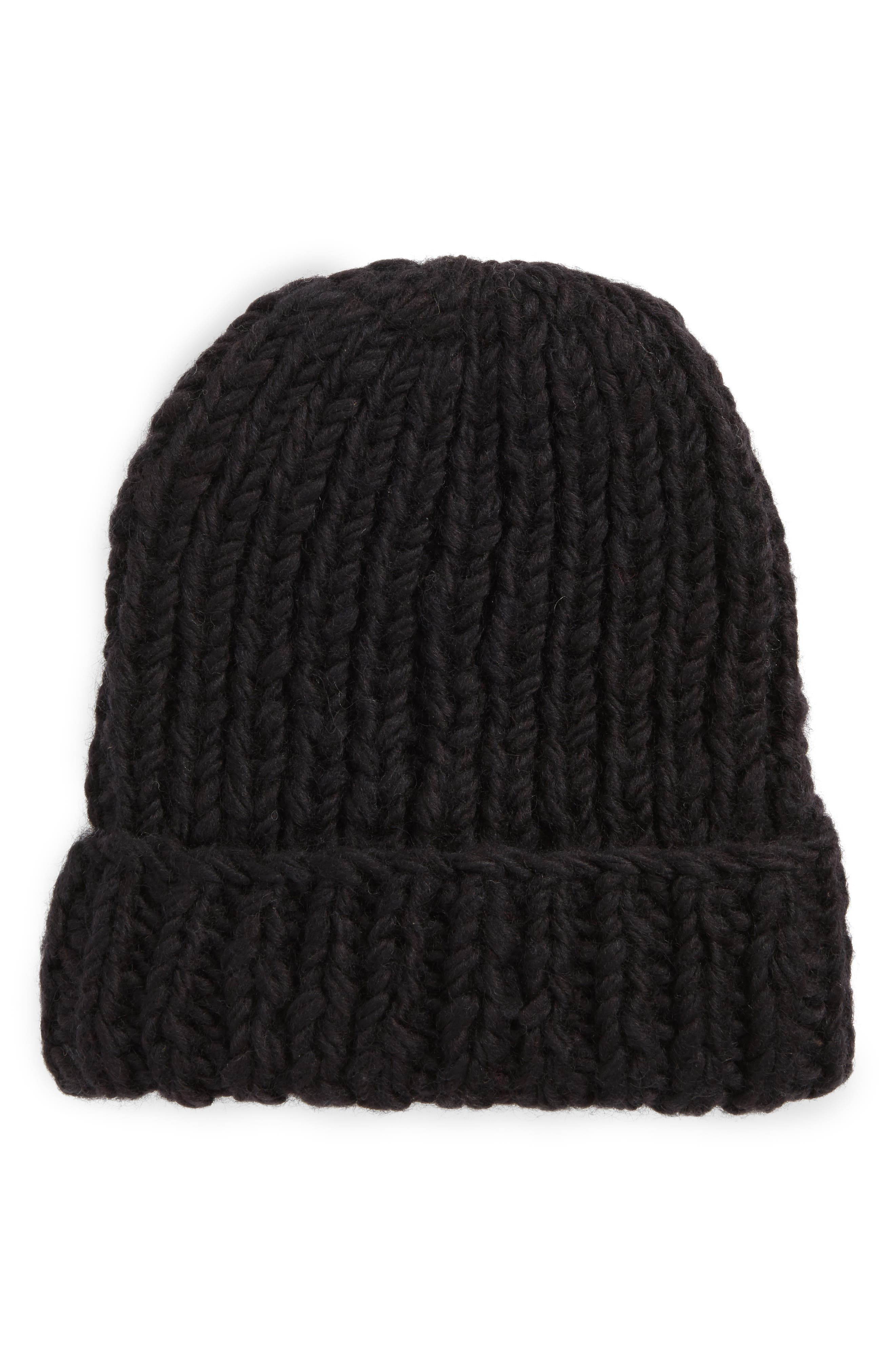 NIRVANNA DESIGNS, Chunky Knit Slouchy Wool Cap, Main thumbnail 1, color, 001