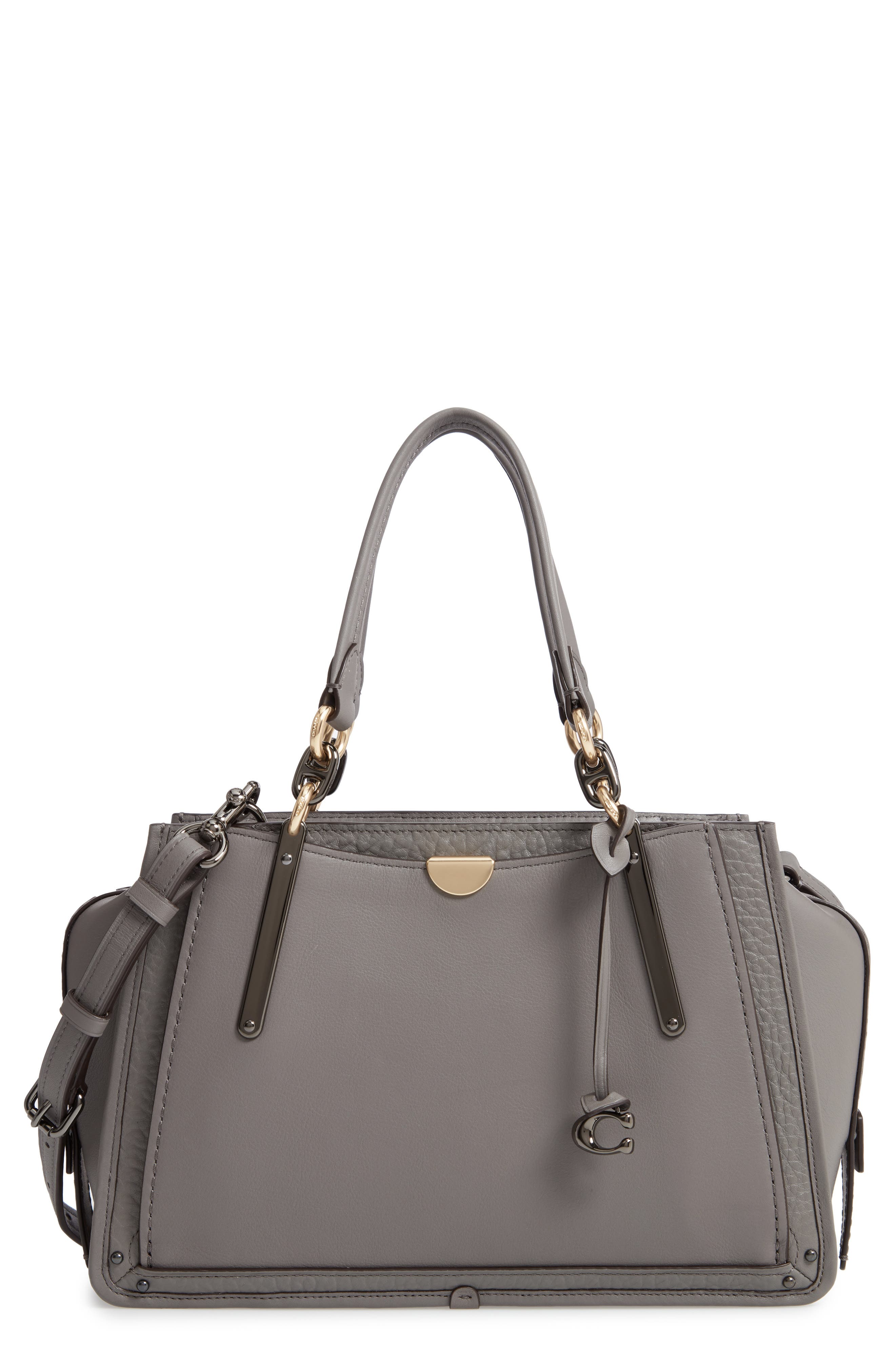 COACH, Dreamer Mixed Leather Bag, Main thumbnail 1, color, HEATHER GREY