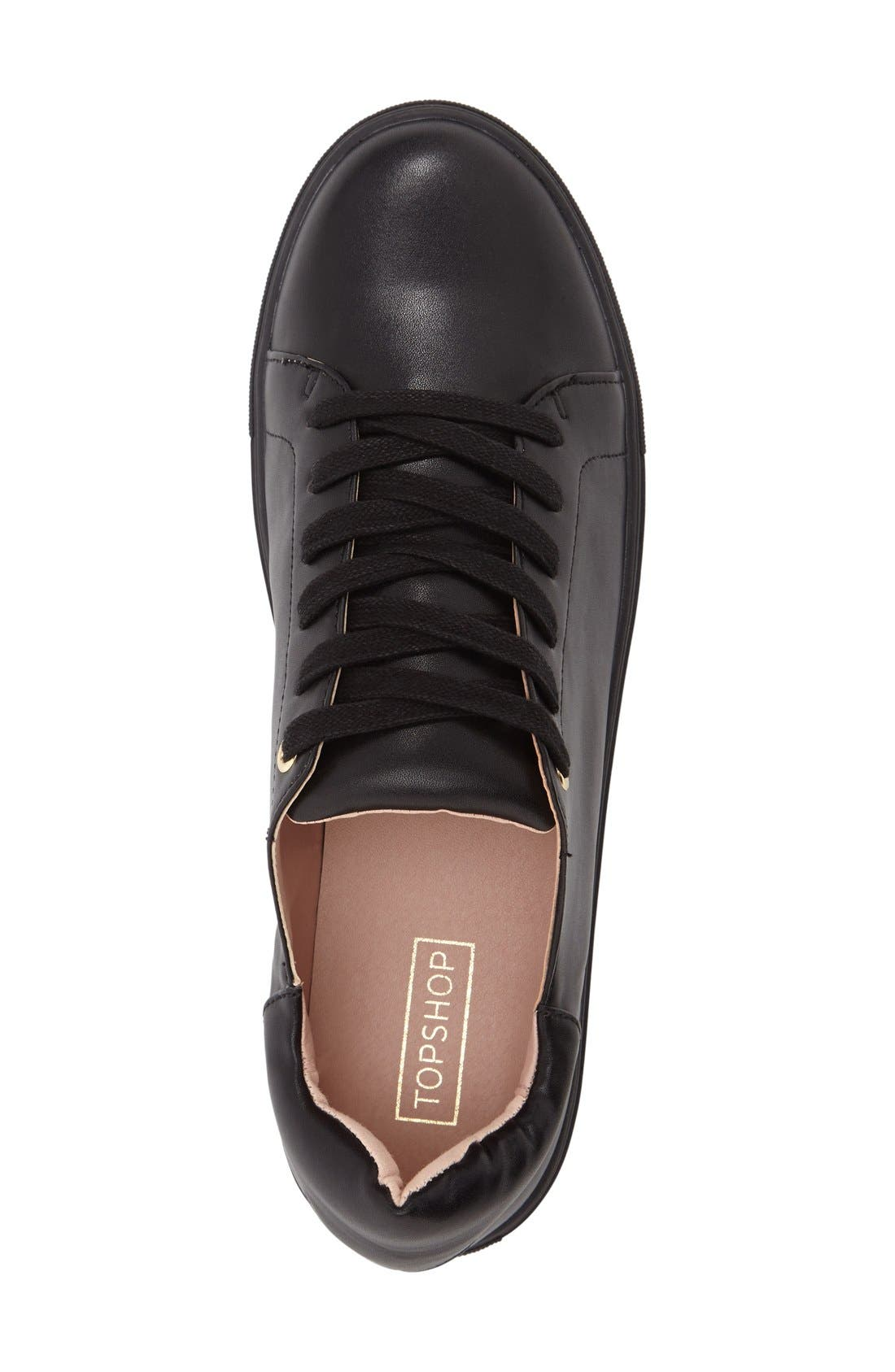 TOPSHOP, Catseye Sneaker, Alternate thumbnail 3, color, 001