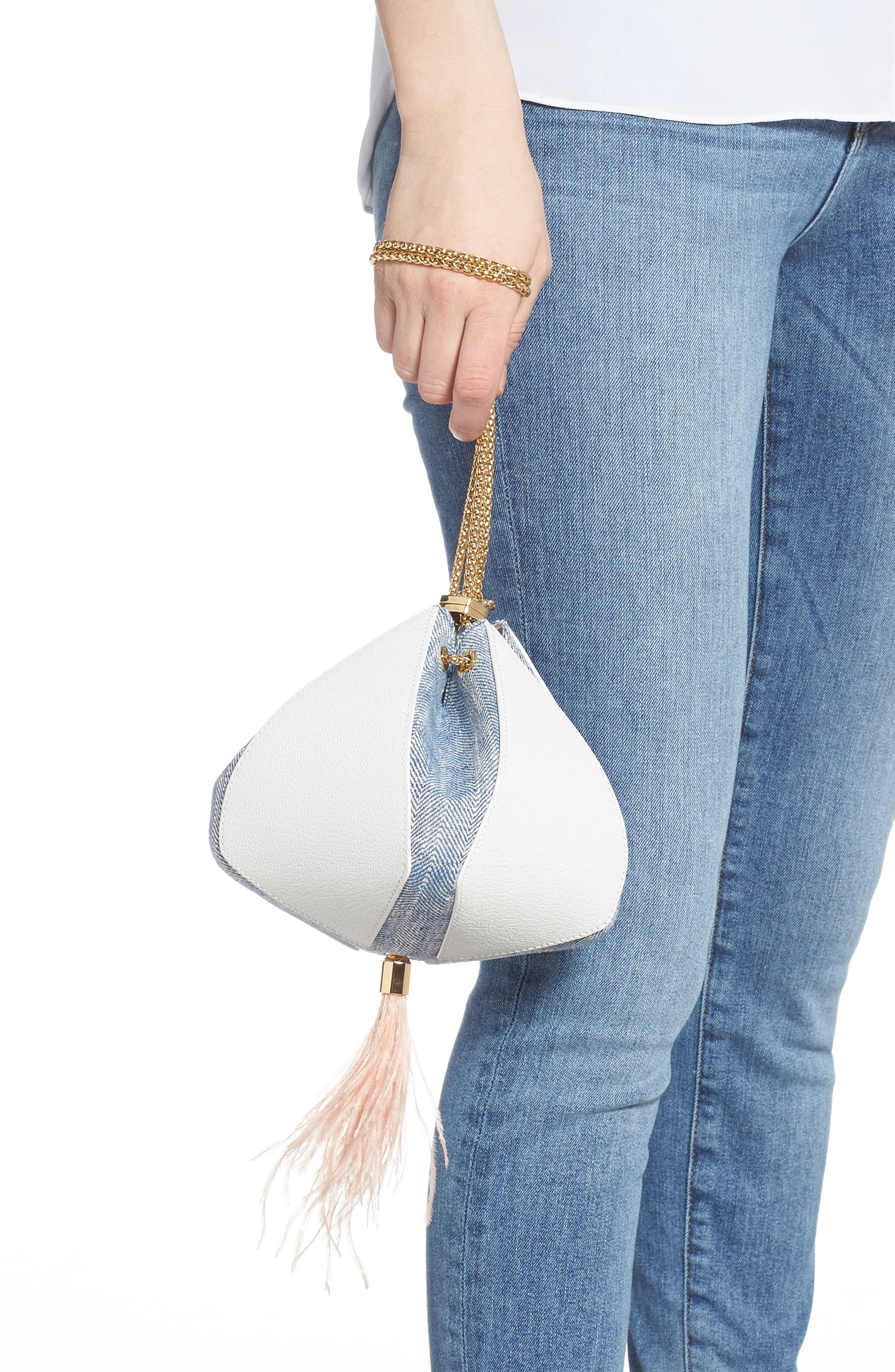 THE VOLON, Cindy Leather & Woven Clutch, Alternate thumbnail 3, color, WHITE