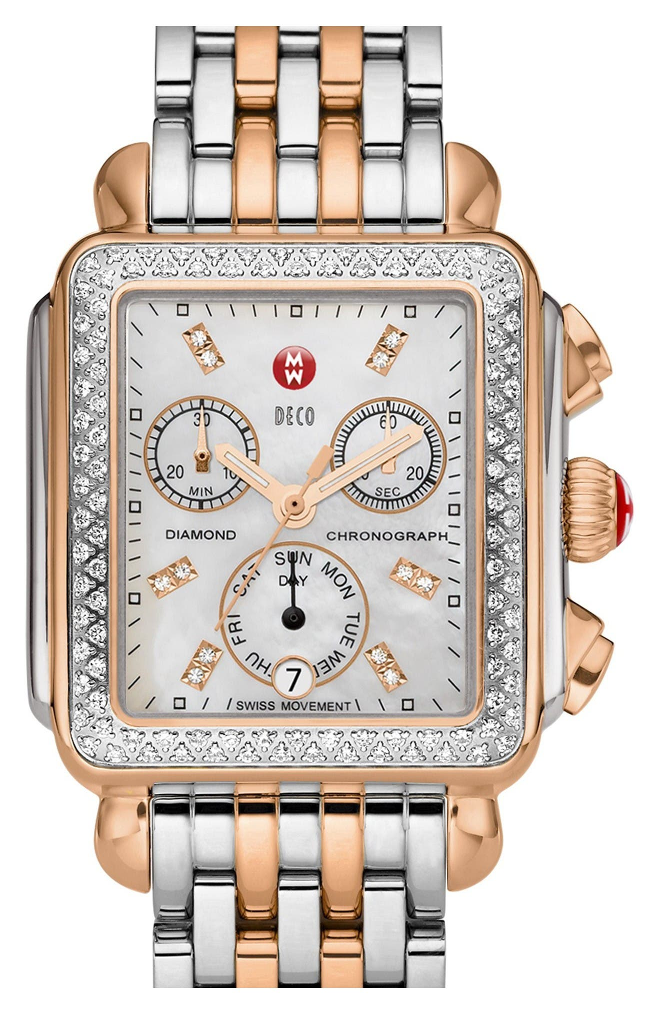 MICHELE, Deco Diamond Diamond Dial Watch Case, 33mm x 35mm, Alternate thumbnail 5, color, SILVER/ ROSE GOLD