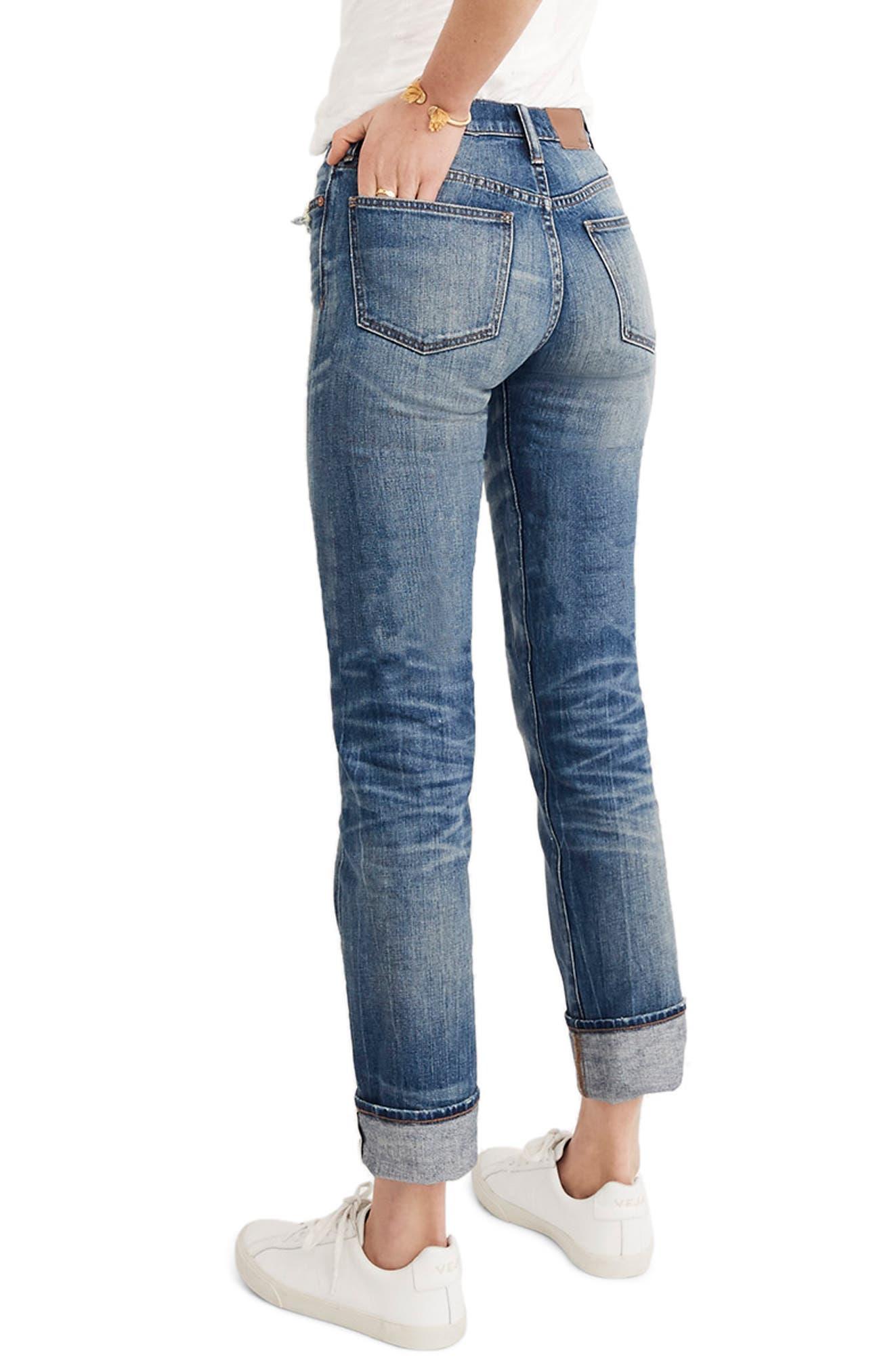 MADEWELL, Selvedge Distressed Straight Leg Jeans, Alternate thumbnail 2, color, CLOVERDALE