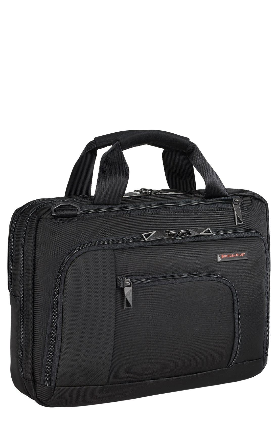 BRIGGS & RILEY, 'Verb - Contact' Small Briefcase, Main thumbnail 1, color, BLACK