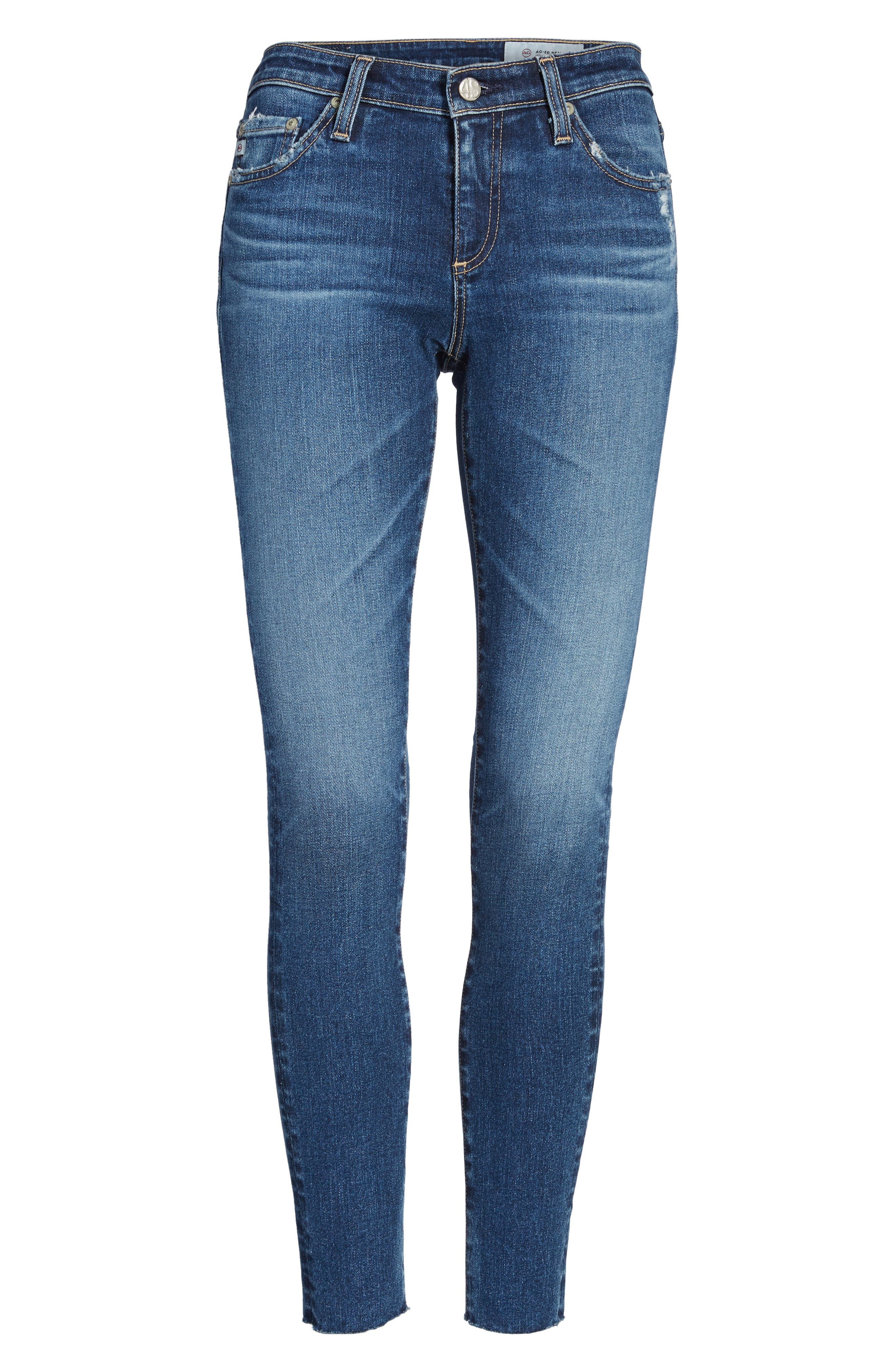 AG, The Legging Raw Hem Ankle Skinny Jeans, Alternate thumbnail 6, color, 450