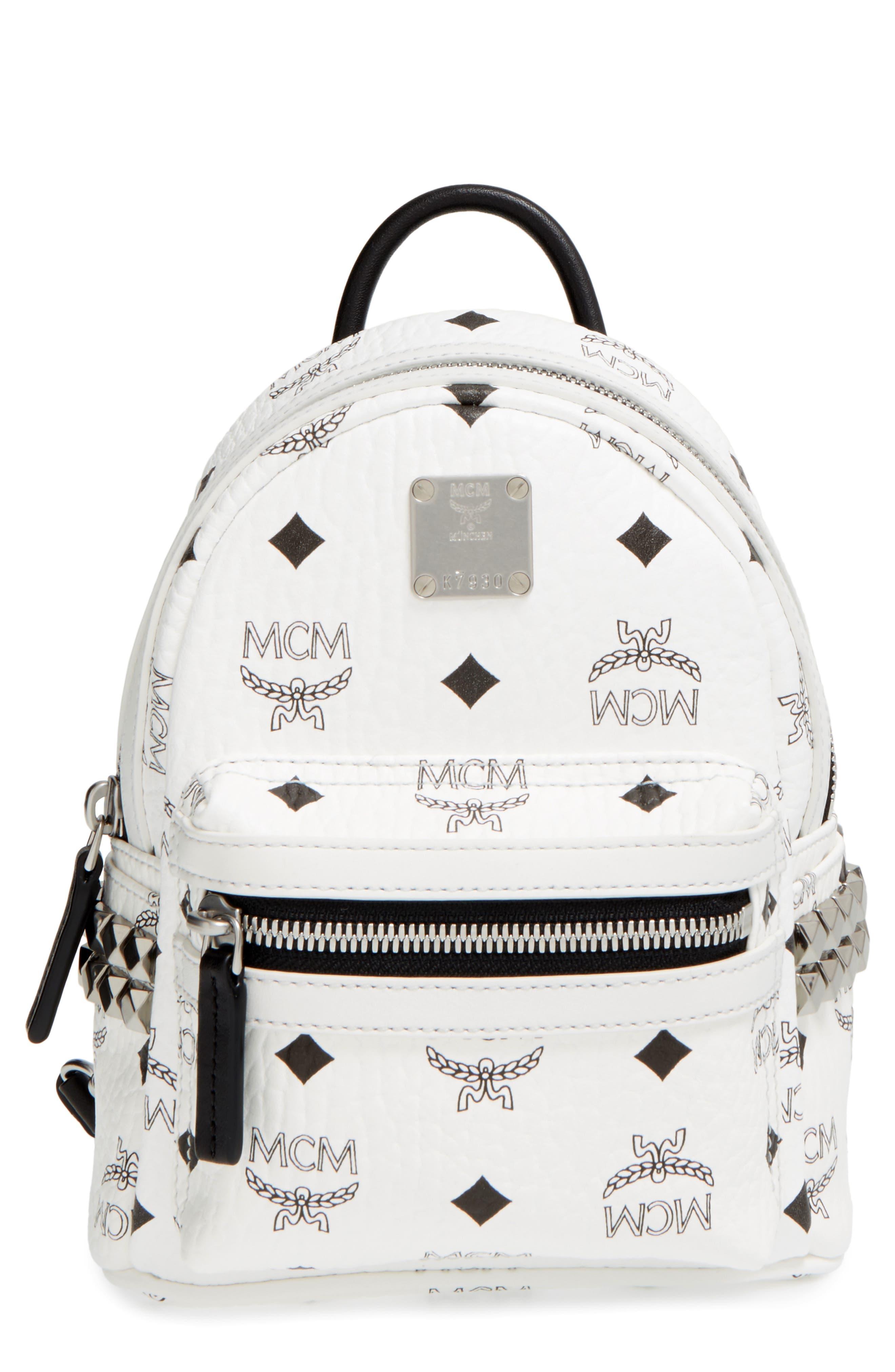 MCM, 'X-Mini Stark Side Stud' Convertible Backpack, Main thumbnail 1, color, WHITE