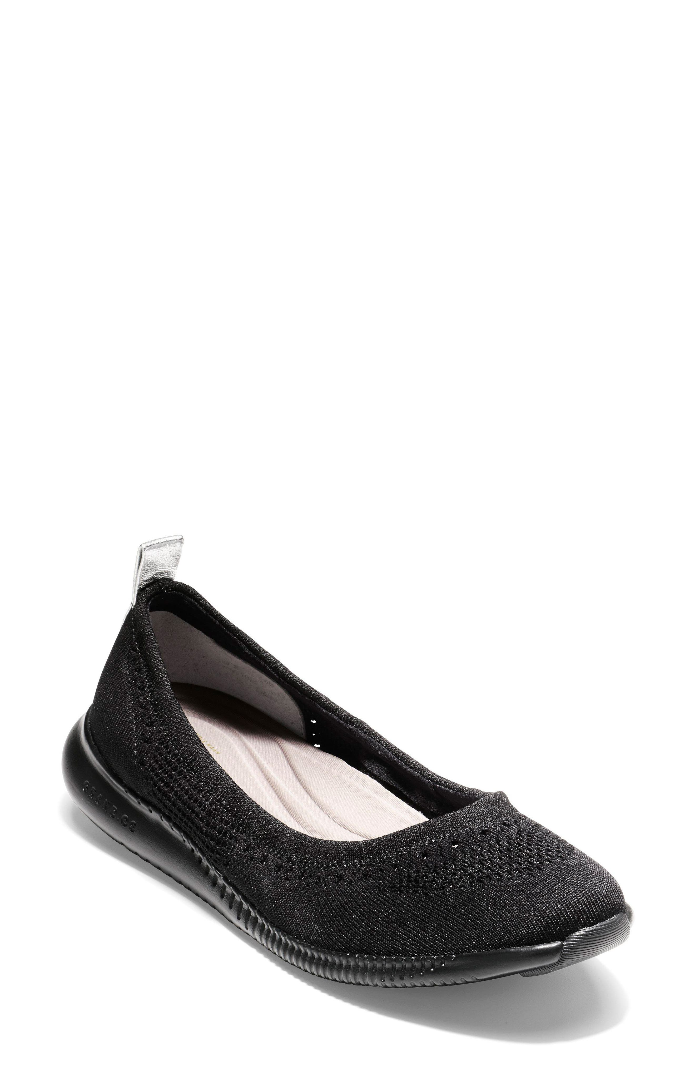 COLE HAAN, 2.ZERØGRAND Stitchlite Ballet Flat, Main thumbnail 1, color, BLACK FABRIC