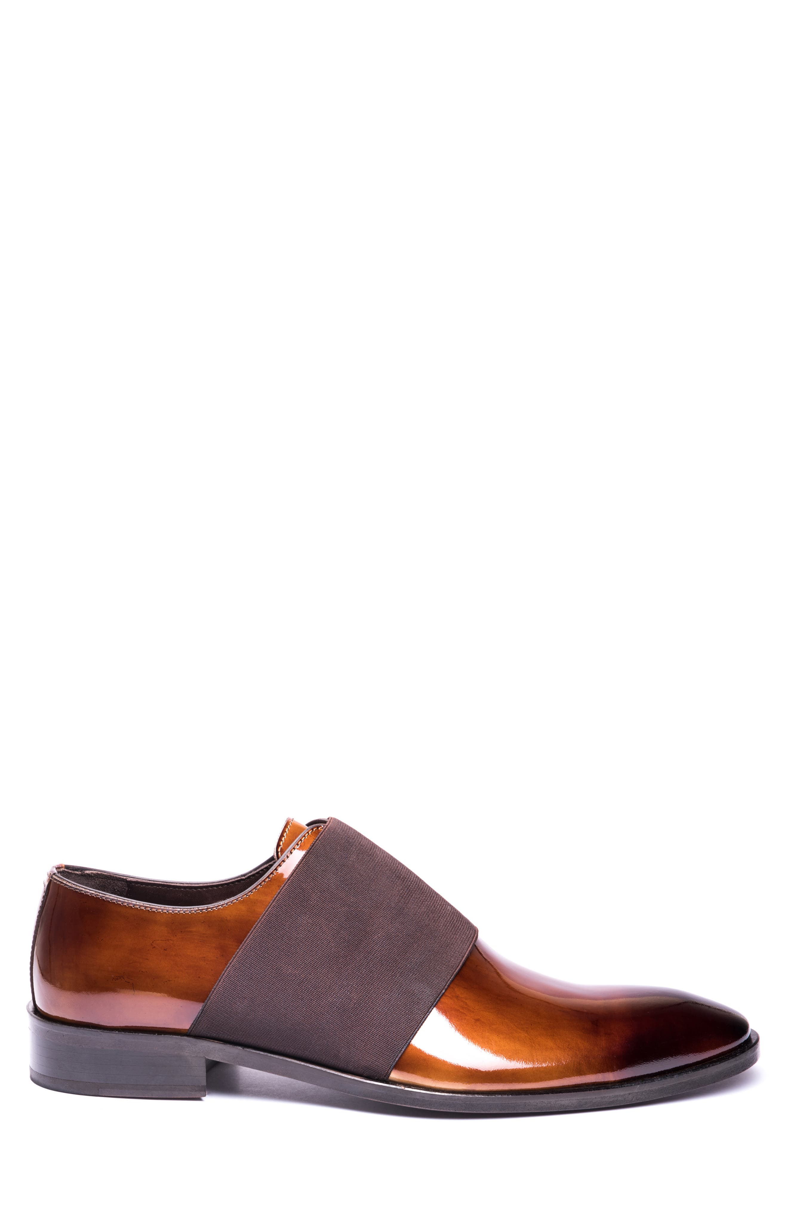 JARED LANG, Vincenzo Whole Cut Slip-On, Alternate thumbnail 3, color, BROWN LEATHER