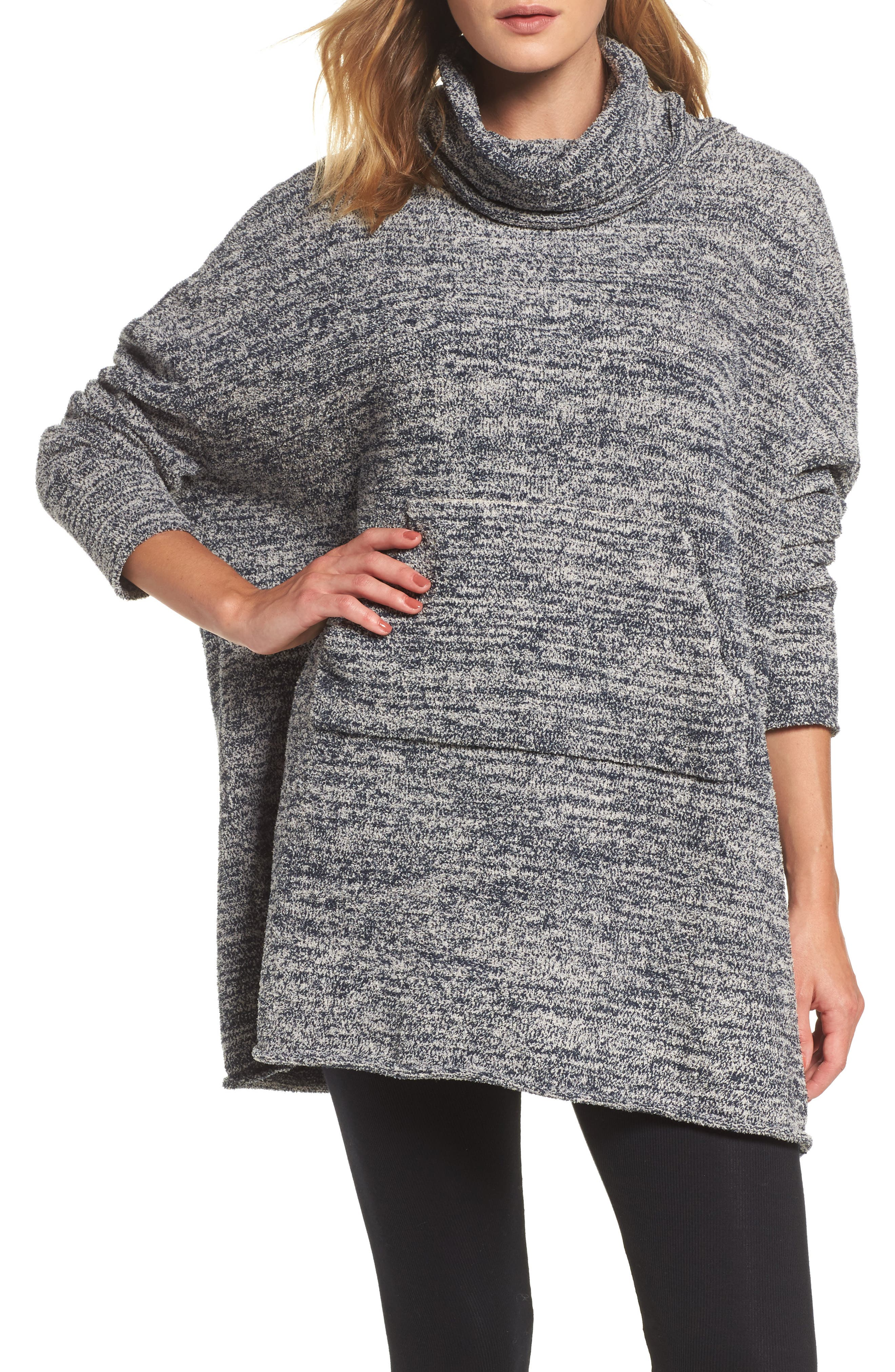 BAREFOOT DREAMS<SUP>®</SUP>, Cozychic<sup>®</sup> Lounge Pullover, Main thumbnail 1, color, INDIGO/ STONE HEATHERED