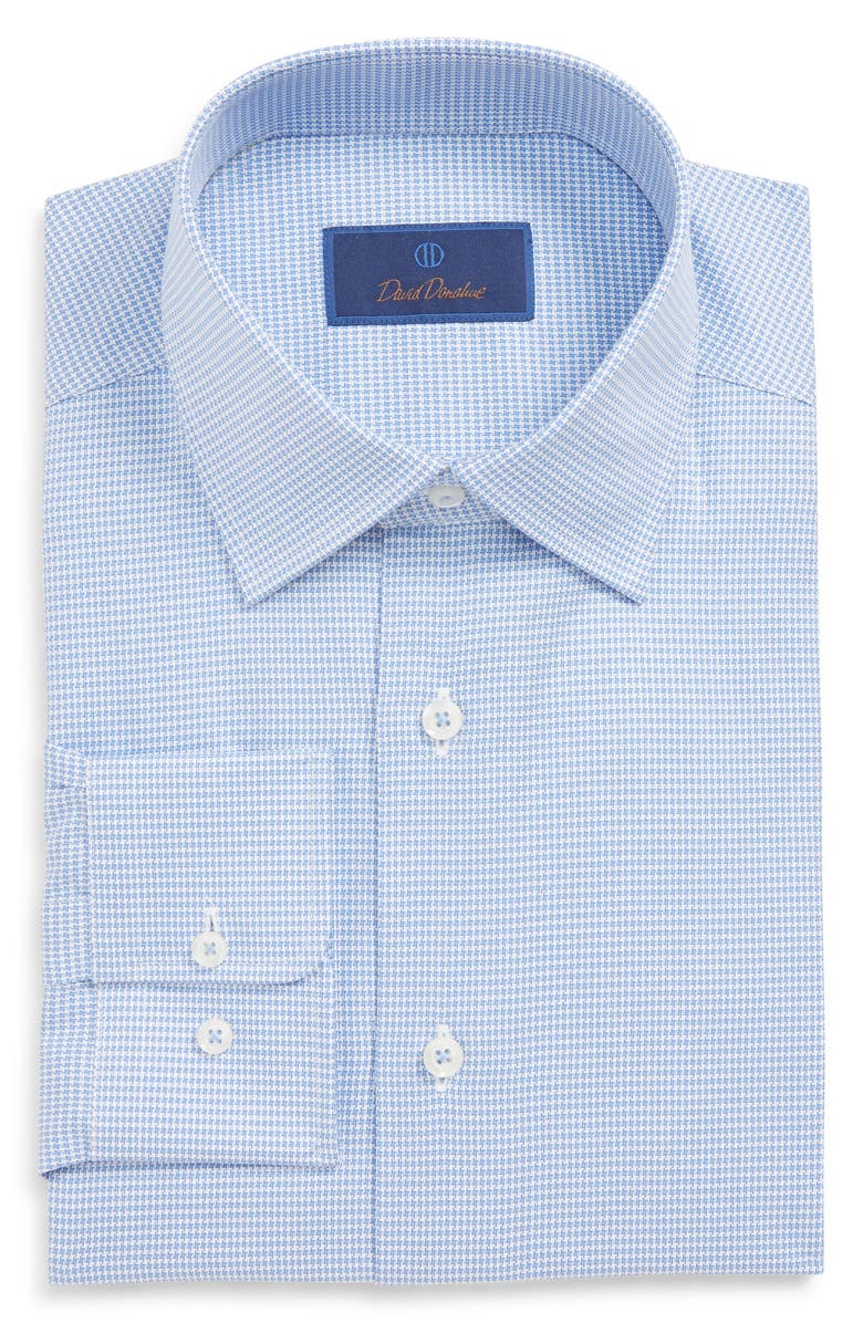 David Donahue Dresses REGULAR FIT HOUNDSTOOTH DRESS SHIRT