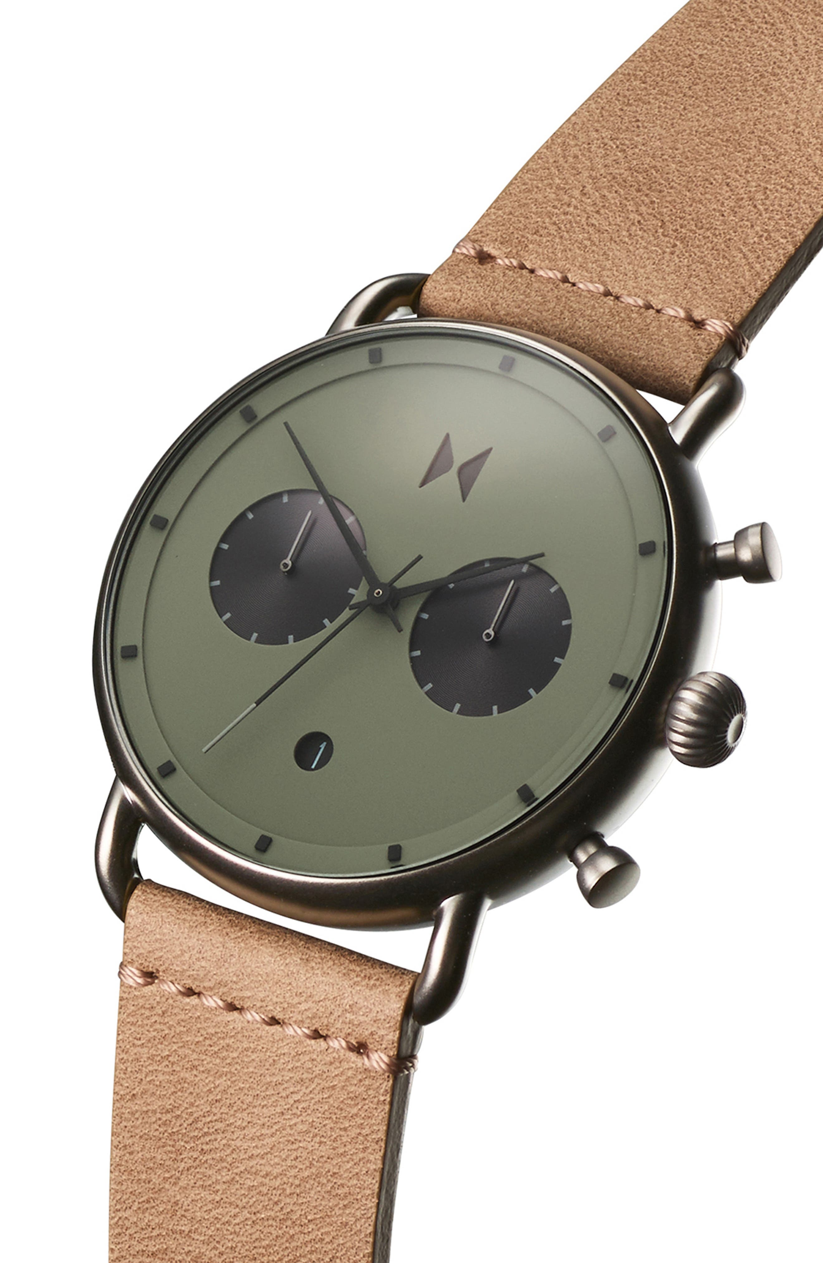 MVMT, Blacktop Chronograph Leather Strap Watch, Alternate thumbnail 3, color, GREEN/ SANDSTONE