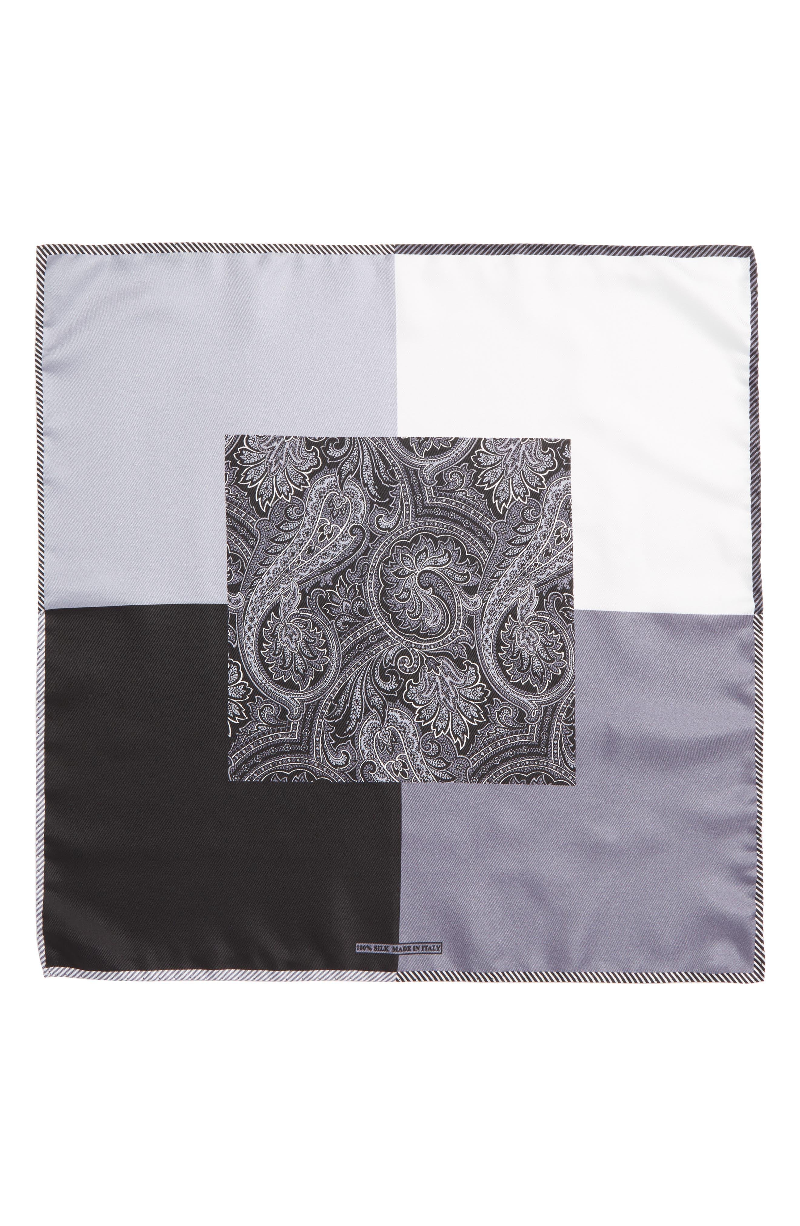 NORDSTROM MEN'S SHOP, Five Panel Silk Pocket Square, Alternate thumbnail 2, color, BLACK
