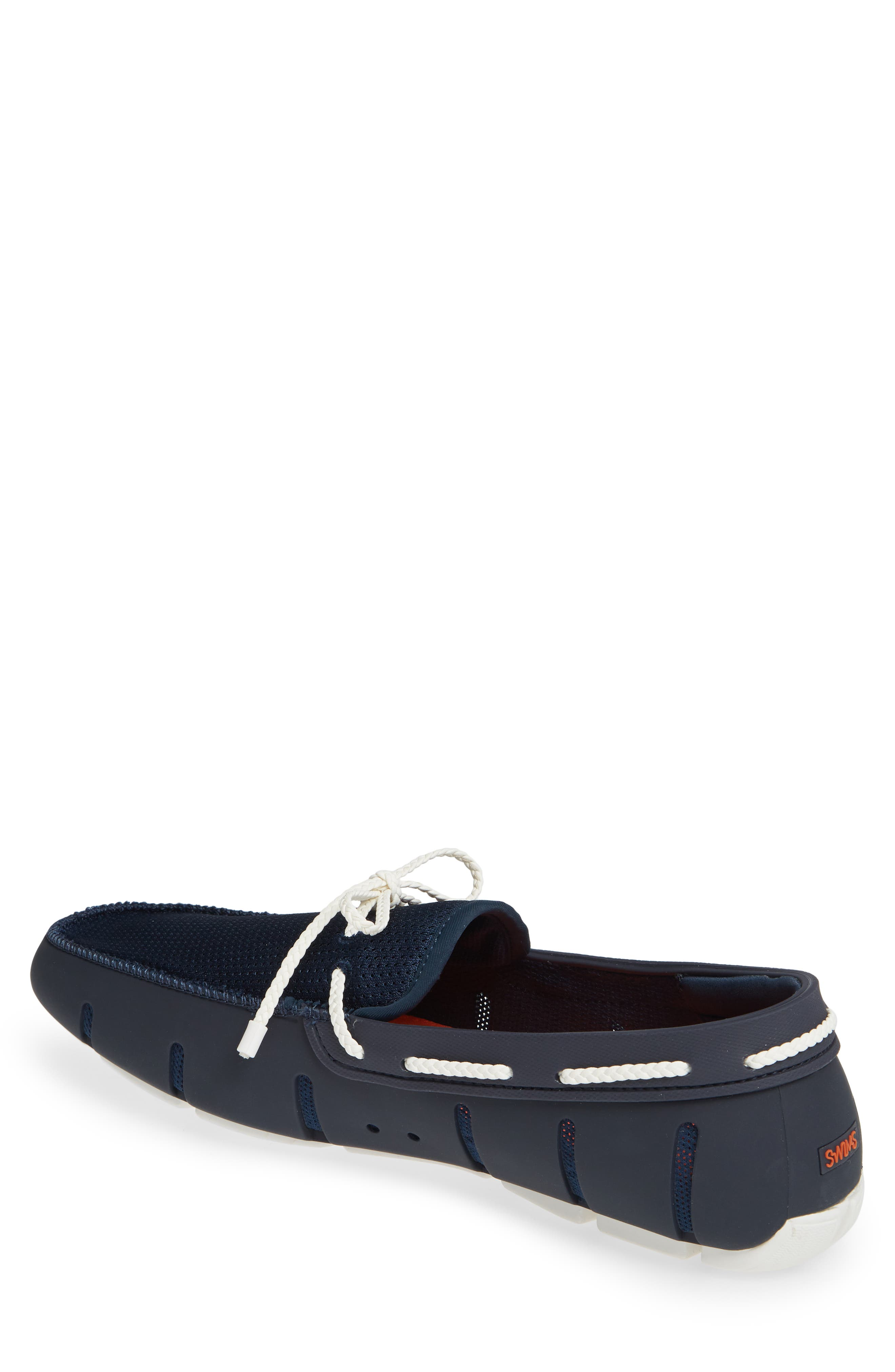 SWIMS, Lace Loafer, Alternate thumbnail 2, color, DARK NAVY/ WHITE
