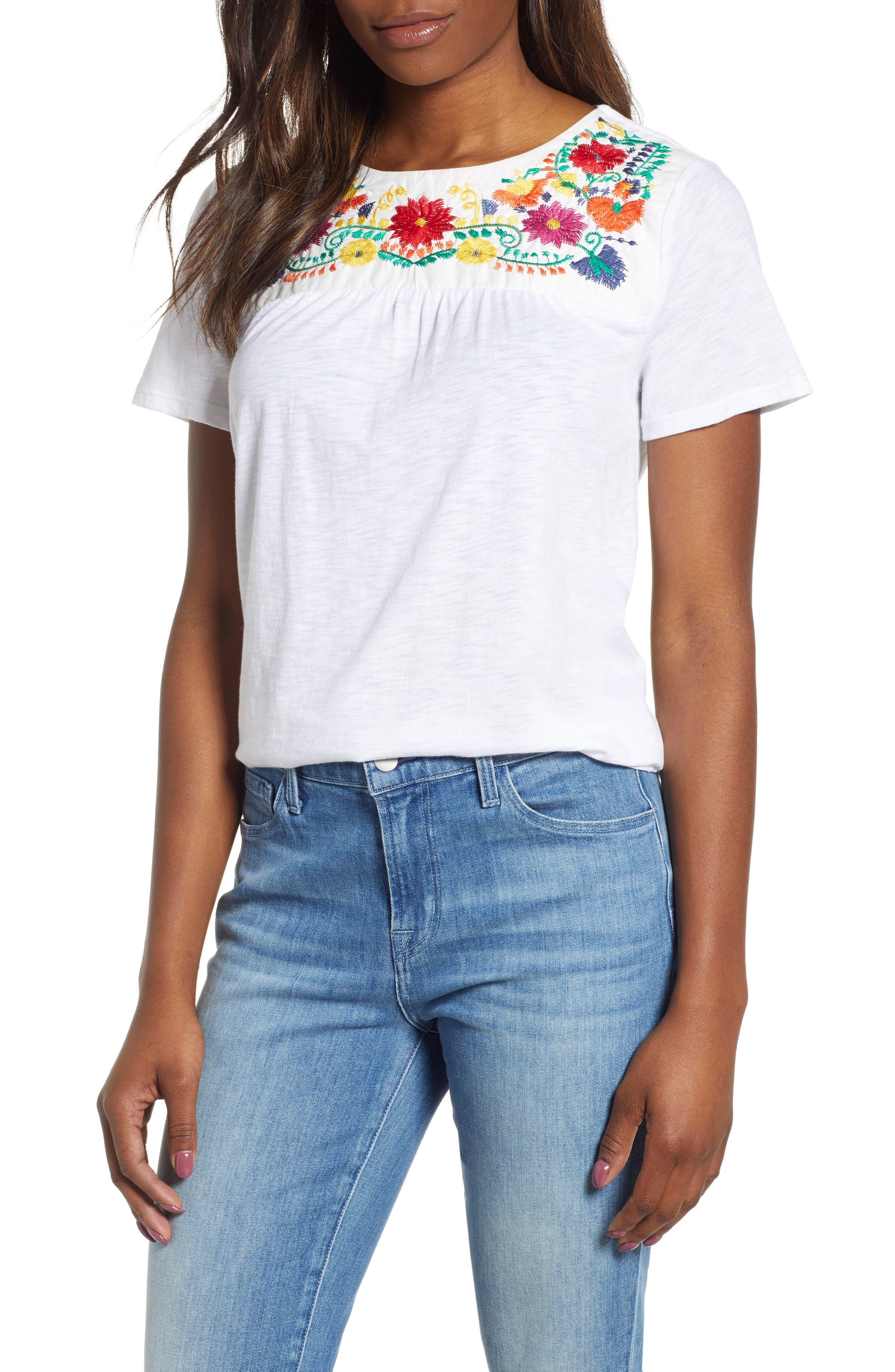 GIBSON x Hi Sugarplum! Savannah Embroidered Yoke Tee, Main, color, WHITE MULTI COLOR