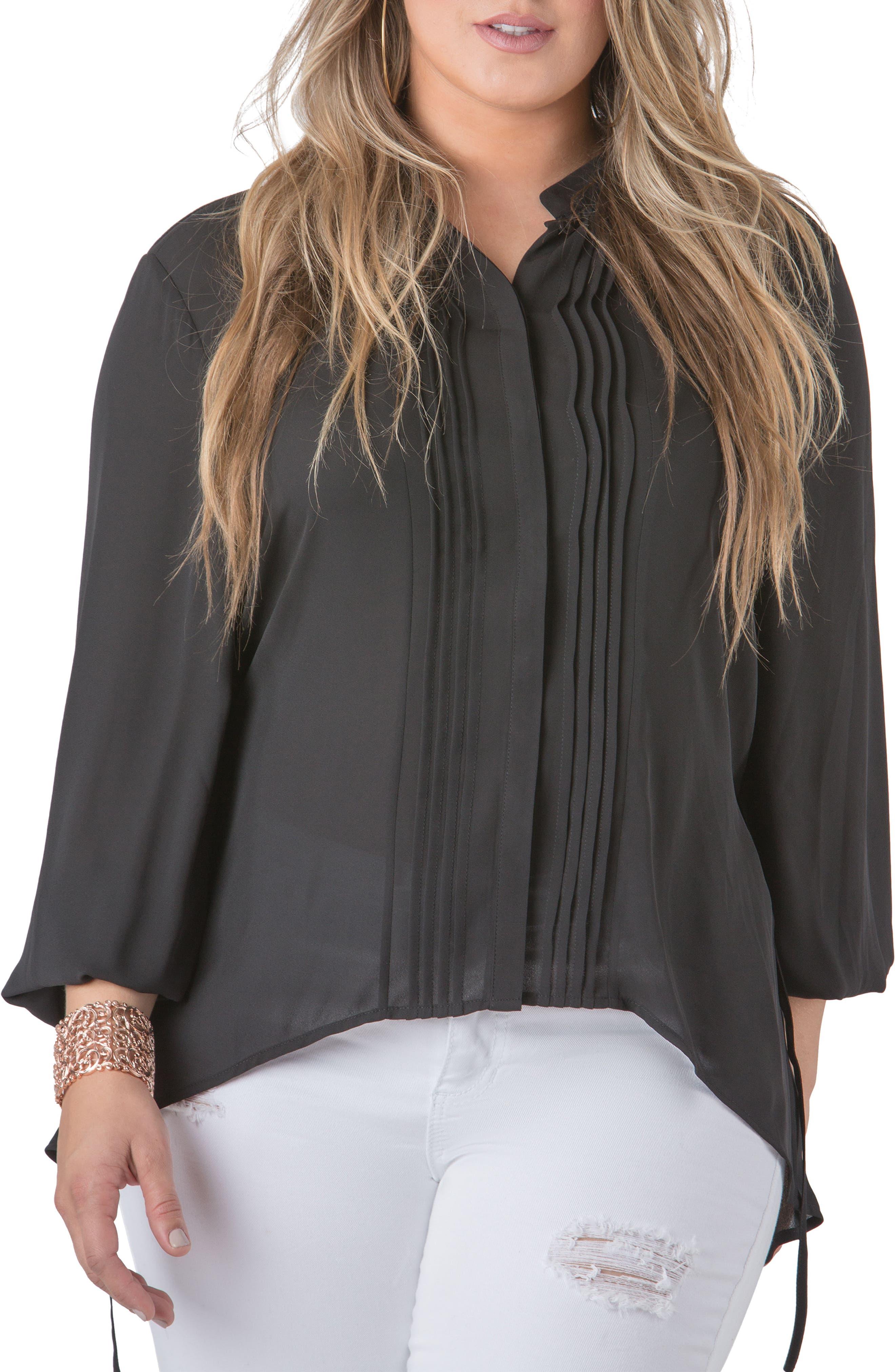 STANDARDS & PRACTICES, Trisha Tuxedo Front Chiffon Blouse, Main thumbnail 1, color, BLACK
