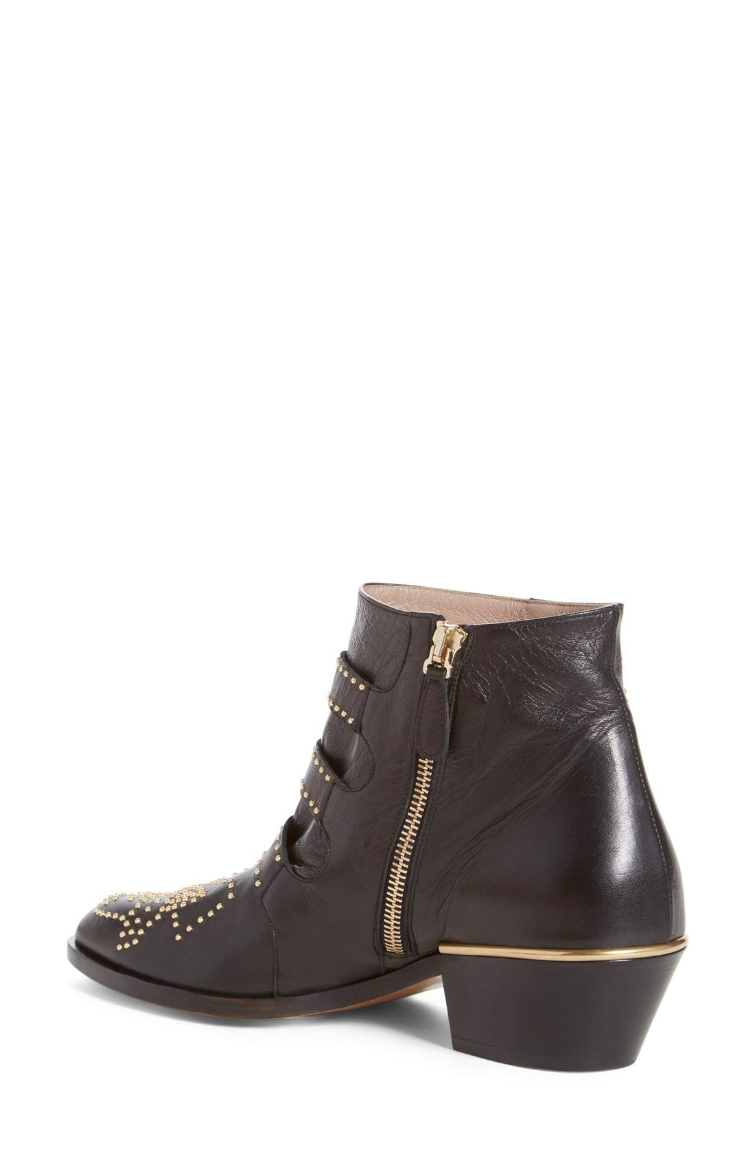 CHLOÉ, Susanna Stud Buckle Bootie, Alternate thumbnail 9, color, BLACK GOLD LEATHER
