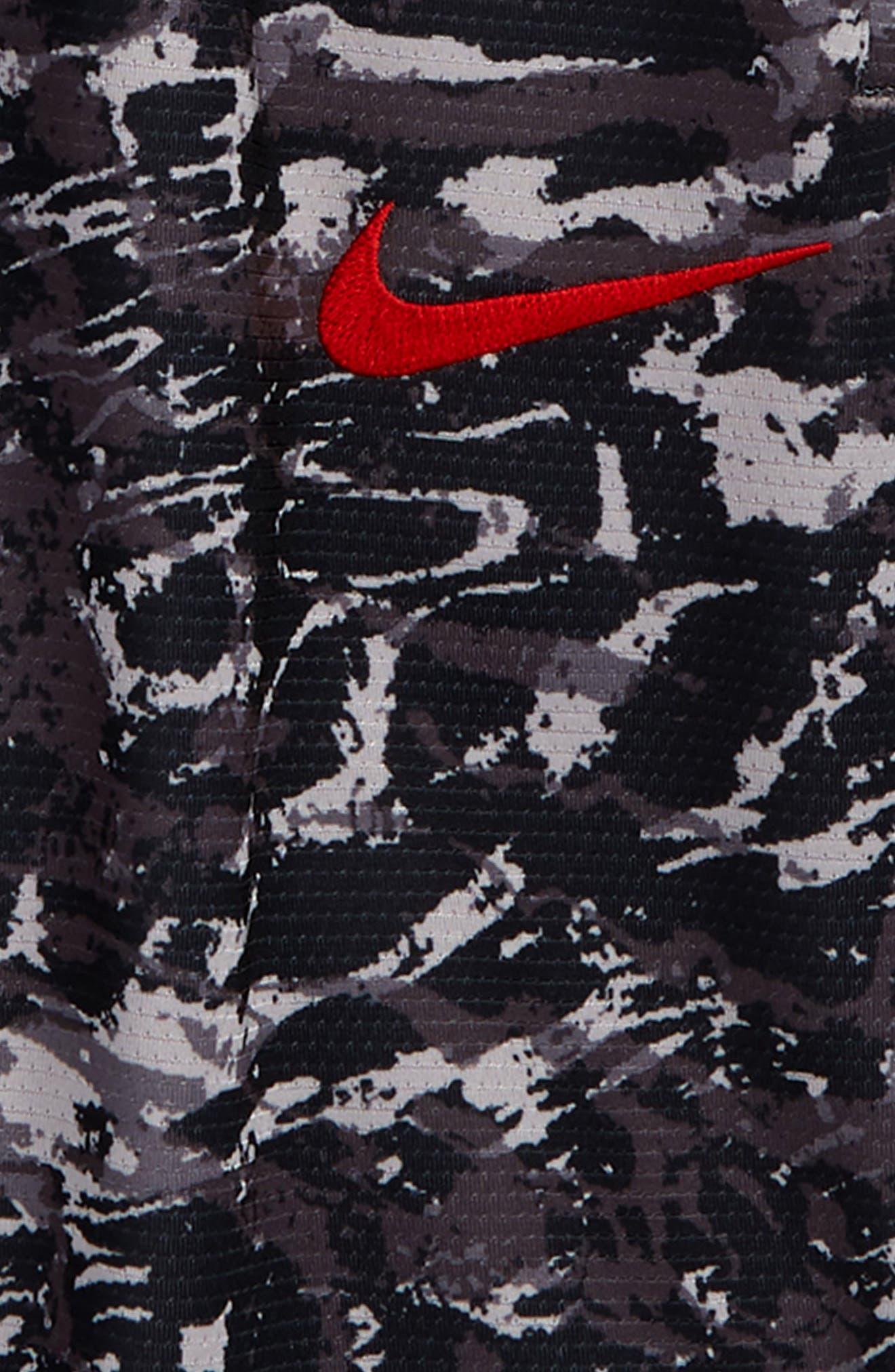 NIKE, Dry Elite Basketball Shorts, Alternate thumbnail 2, color, GUNSMOKE/ WHITE/ UNIV RED