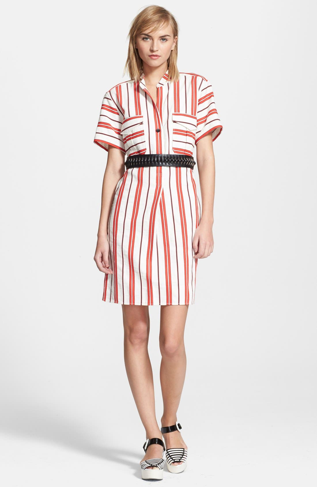 CREATURES OF THE WIND, 'Danae' Stripe Cotton Linen Shirtdress, Alternate thumbnail 3, color, 601