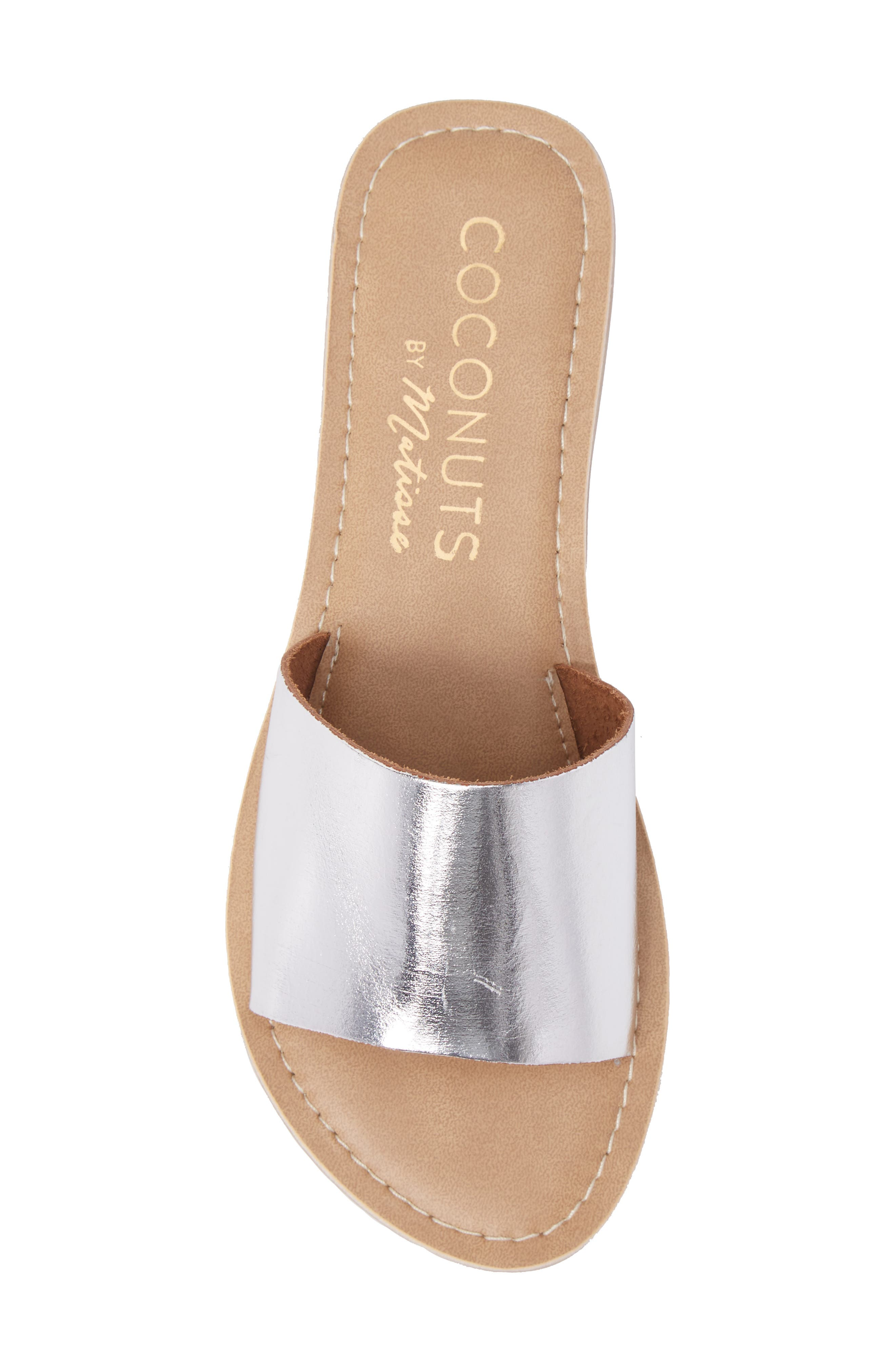 COCONUTS BY MATISSE, Cabana Slide Sandal, Alternate thumbnail 5, color, SILVER LEATHER