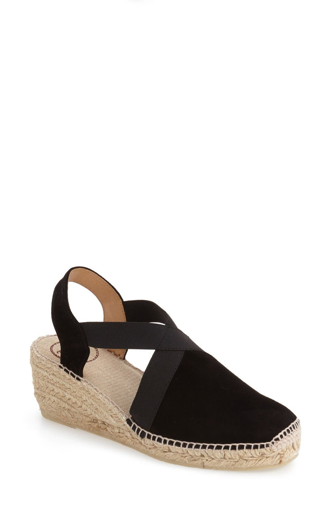 TONI PONS, Tona Espadrille Wedge, Main thumbnail 1, color, BLACK SUEDE