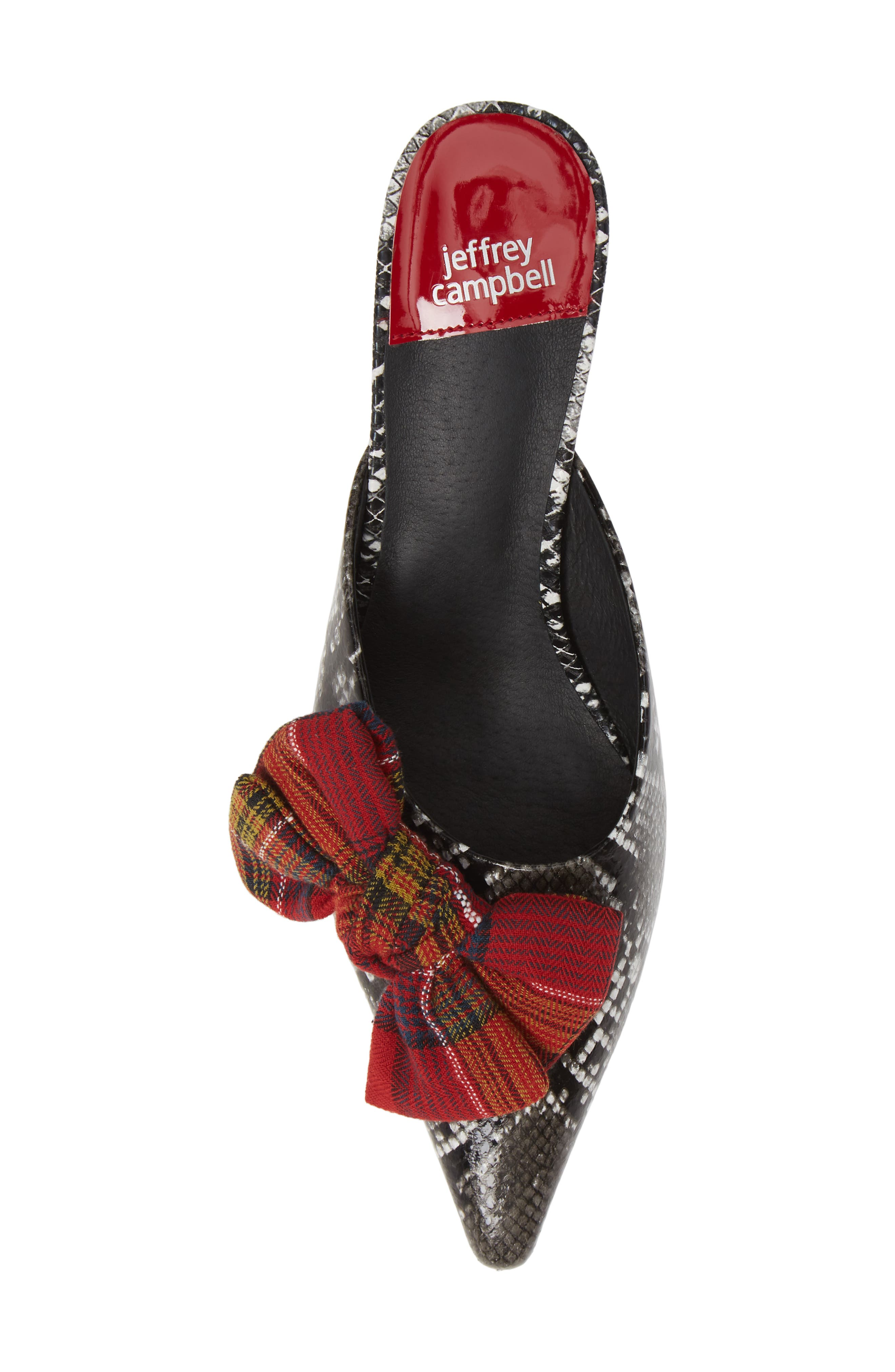 JEFFREY CAMPBELL, Adorn Pointy Toe Mule, Alternate thumbnail 5, color, GREY BLACK SNAKE / RED PLAID