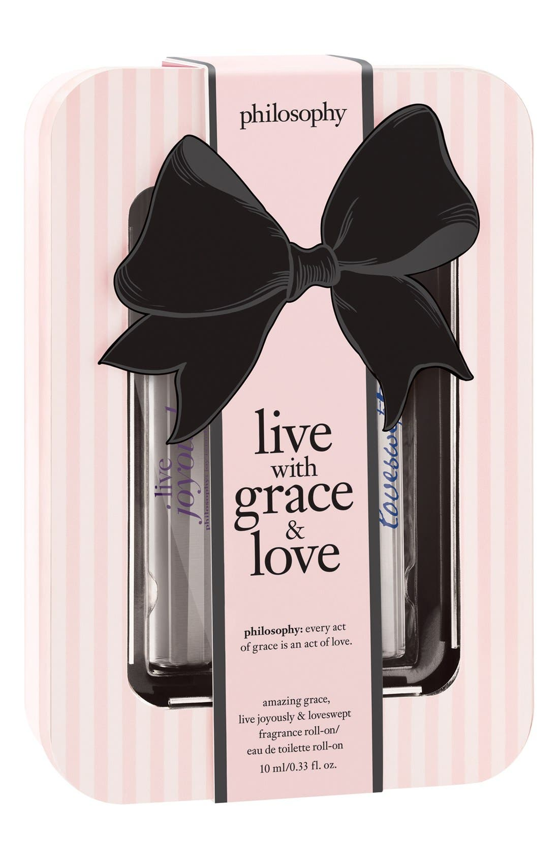 PHILOSOPHY, 'live with grace & love' rollerball trio, Alternate thumbnail 3, color, 000