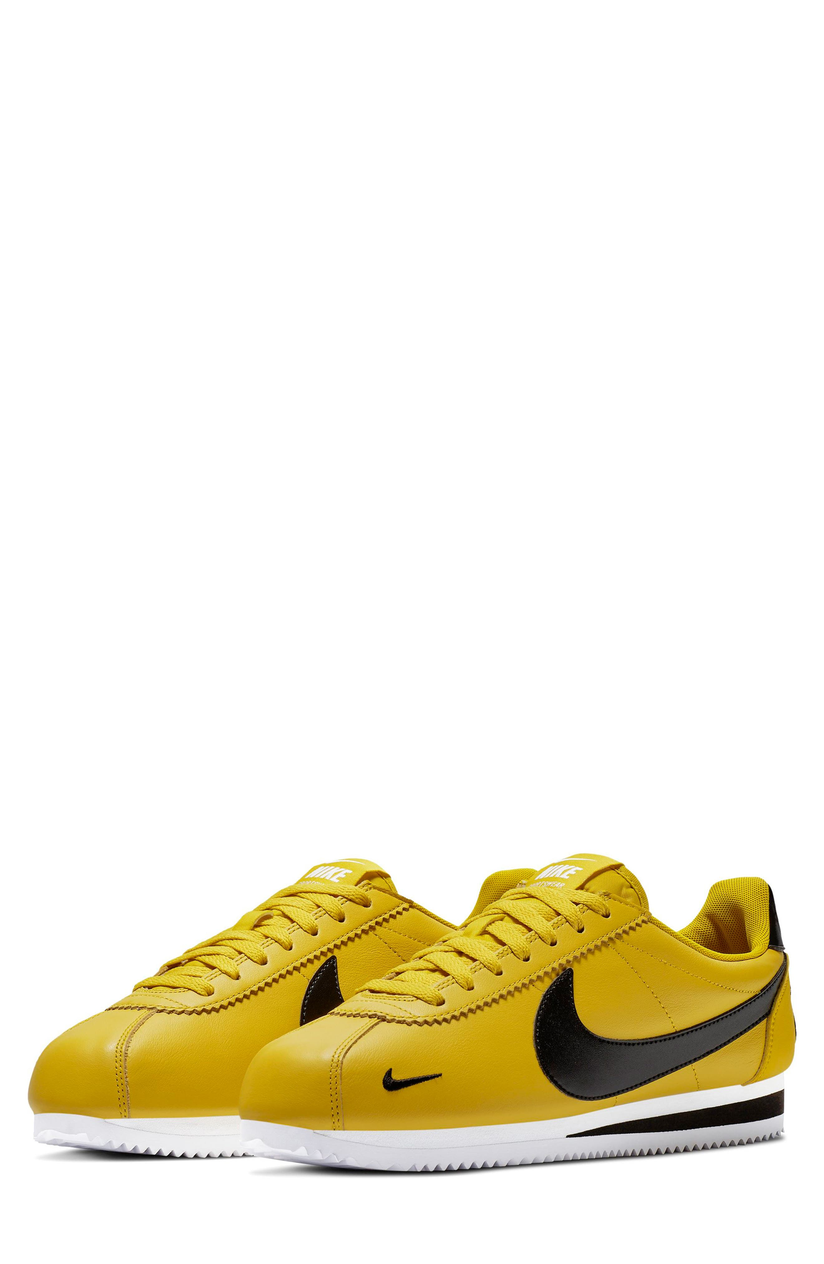 NIKE, Classic Cortez Premium Sneaker, Main thumbnail 1, color, BRIGHT CITRON/ BLACK/ WHITE