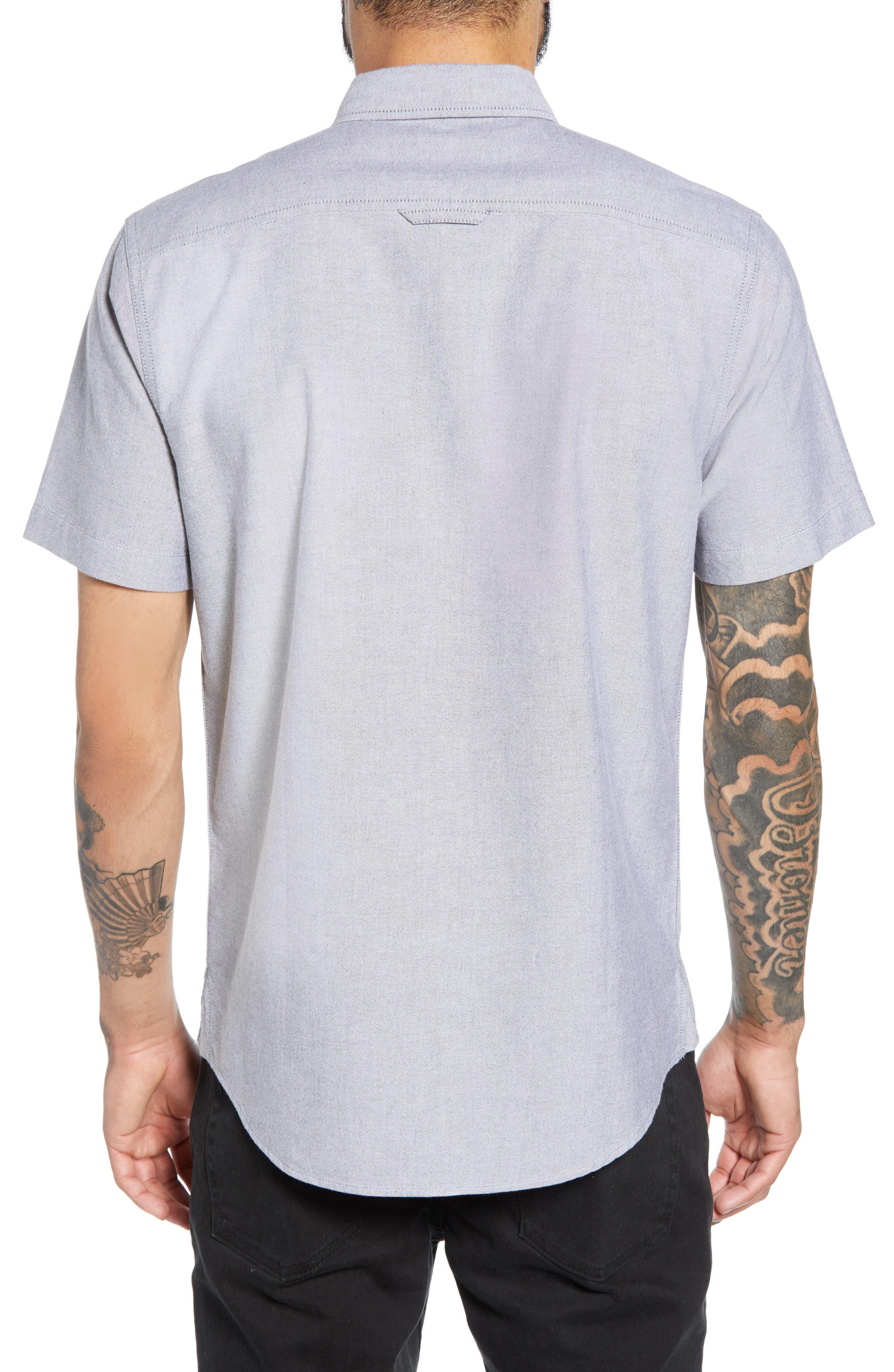 THE RAIL, Oxford Cloth Woven Shirt, Alternate thumbnail 3, color, BLACK ROCK-WHITE