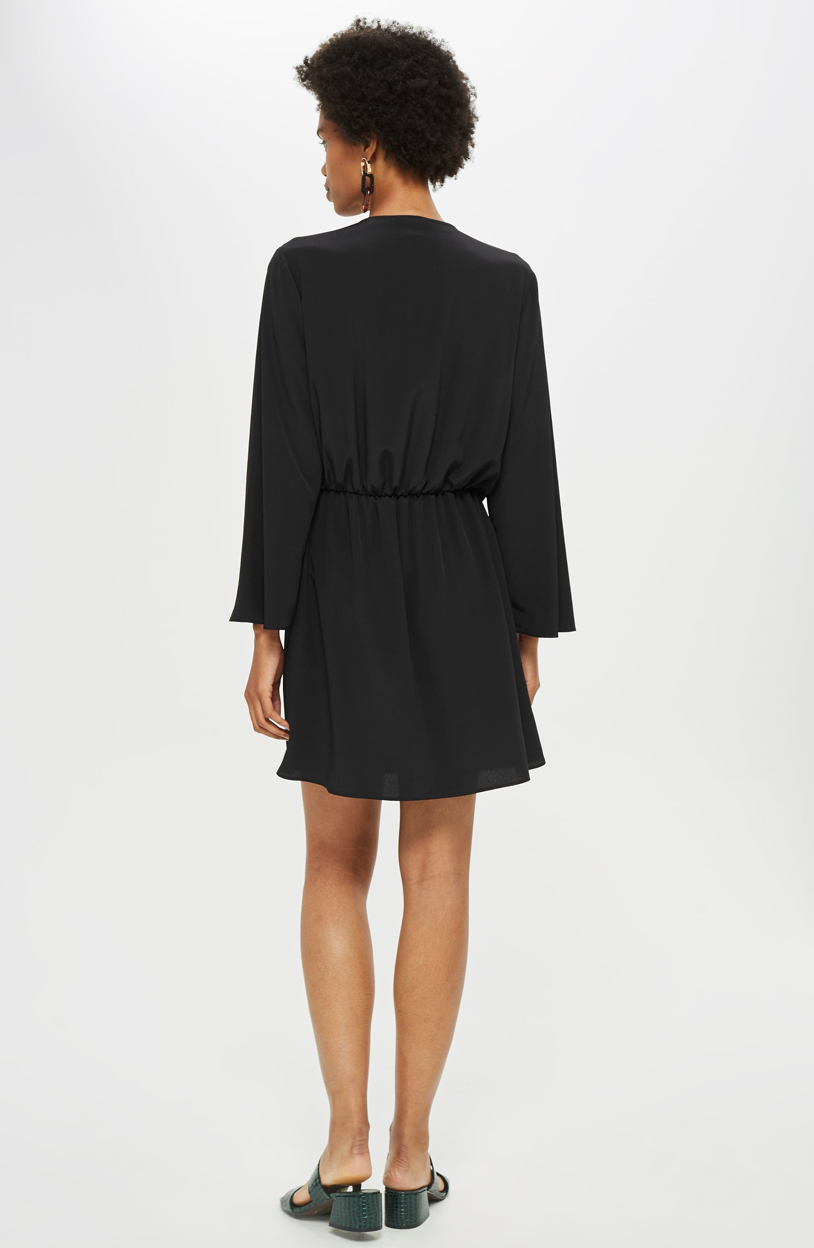 TOPSHOP, Tiffany Knot Minidress, Alternate thumbnail 5, color, BLACK